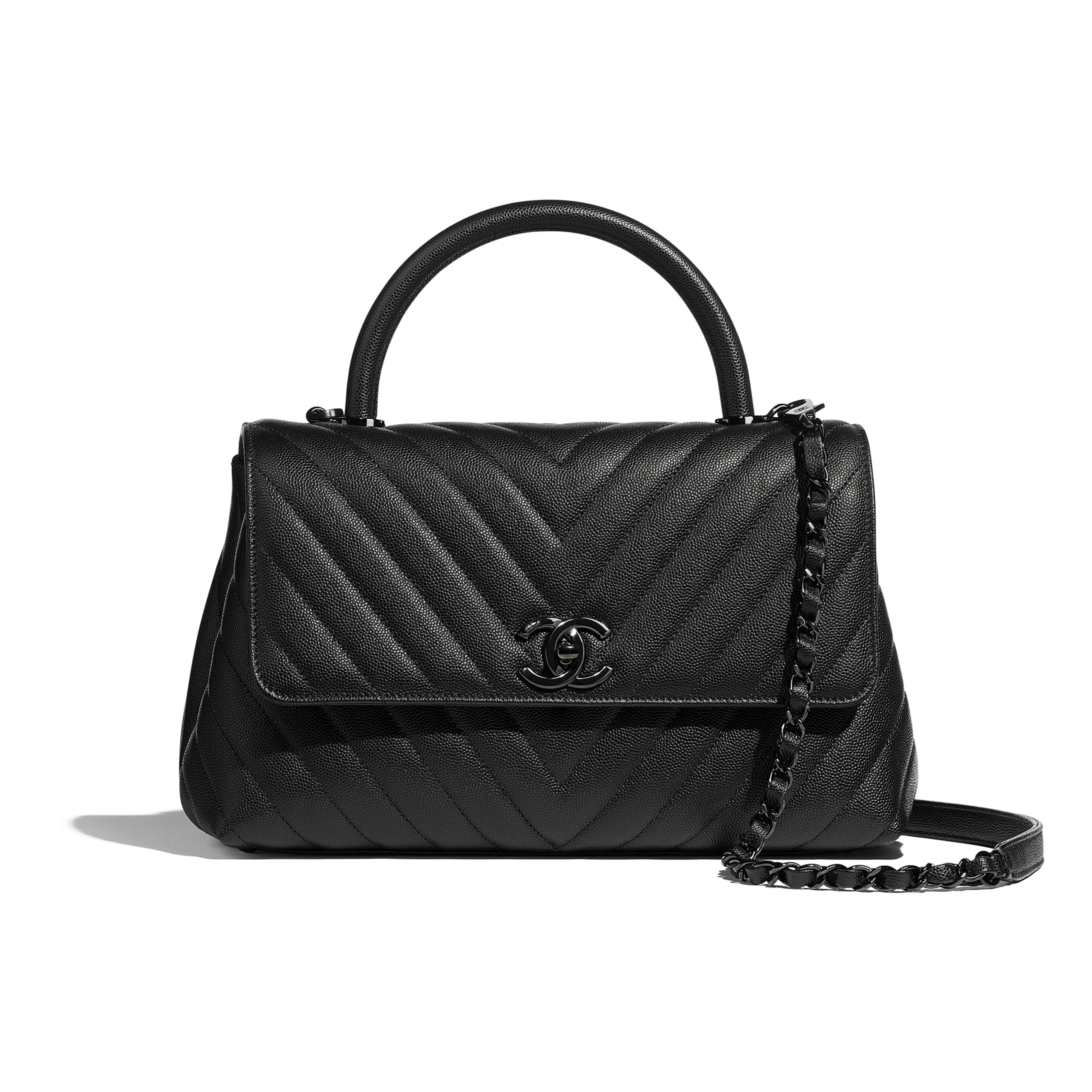 Flap Bag With Top Handle - Black - Grained Calfskin & Black Metal - Default view - see standard sized version