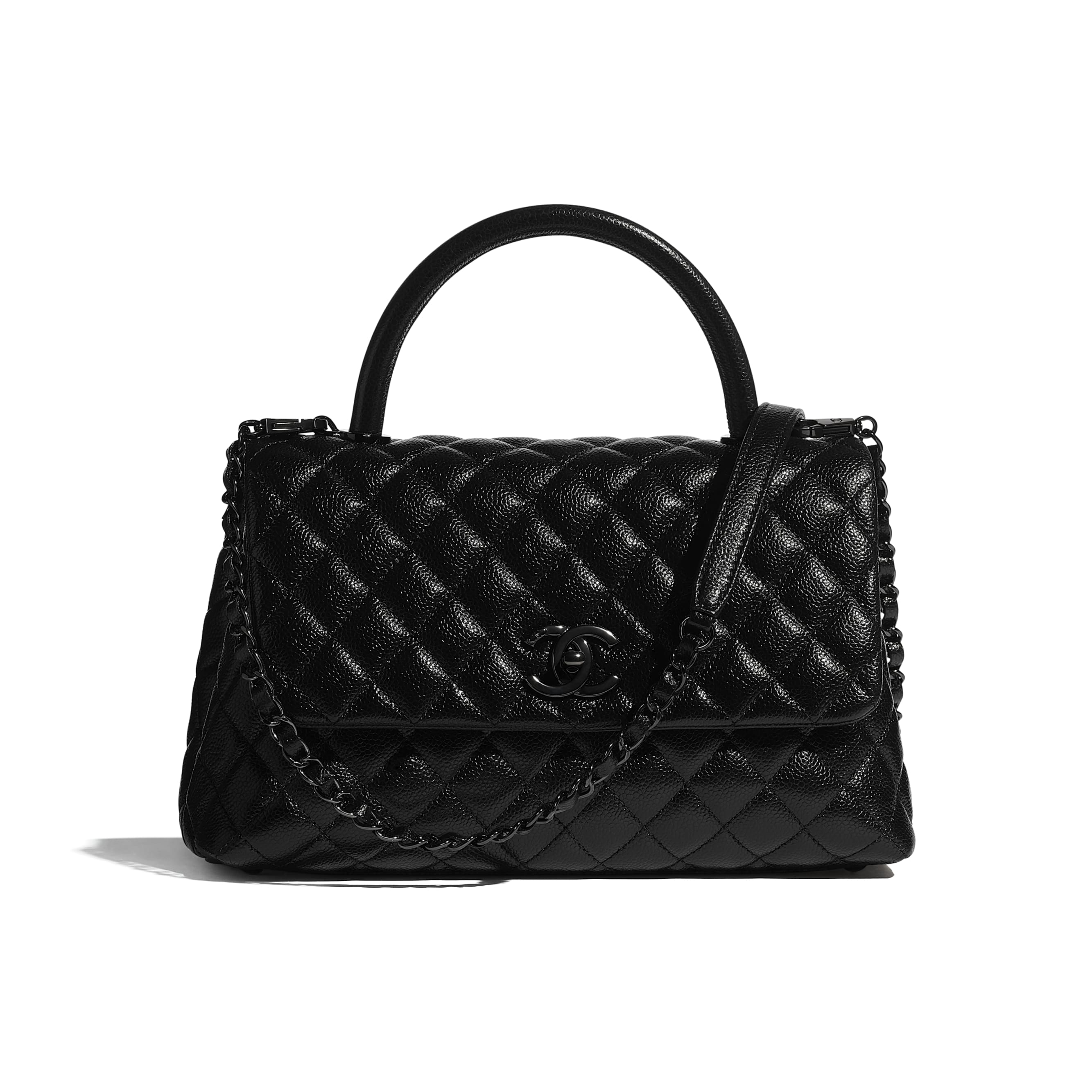 Flap Bag With Top Handle - Black - Grained Calfskin & Black Metal - CHANEL - Default view - see standard sized version