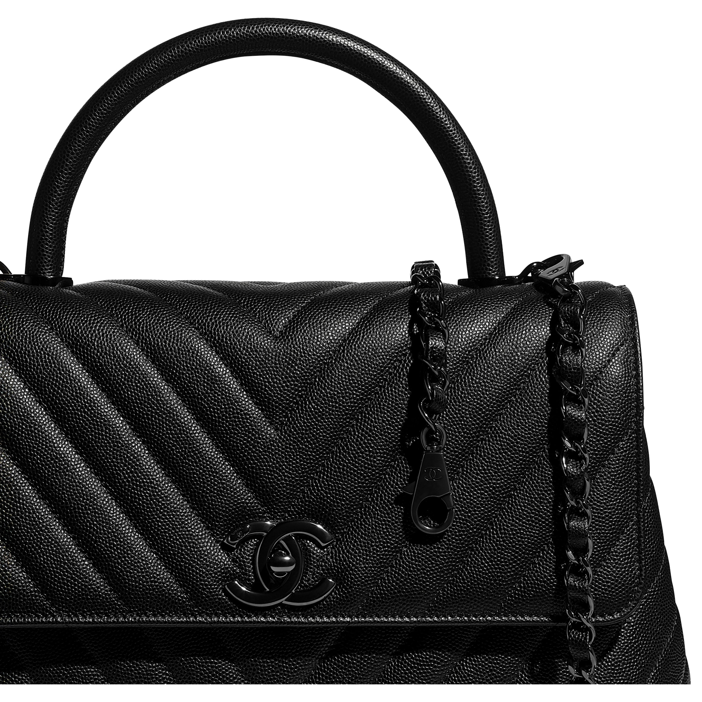 Flap Bag With Top Handle - Black - Grained Calfskin & Black Metal - Extra view - see standard sized version