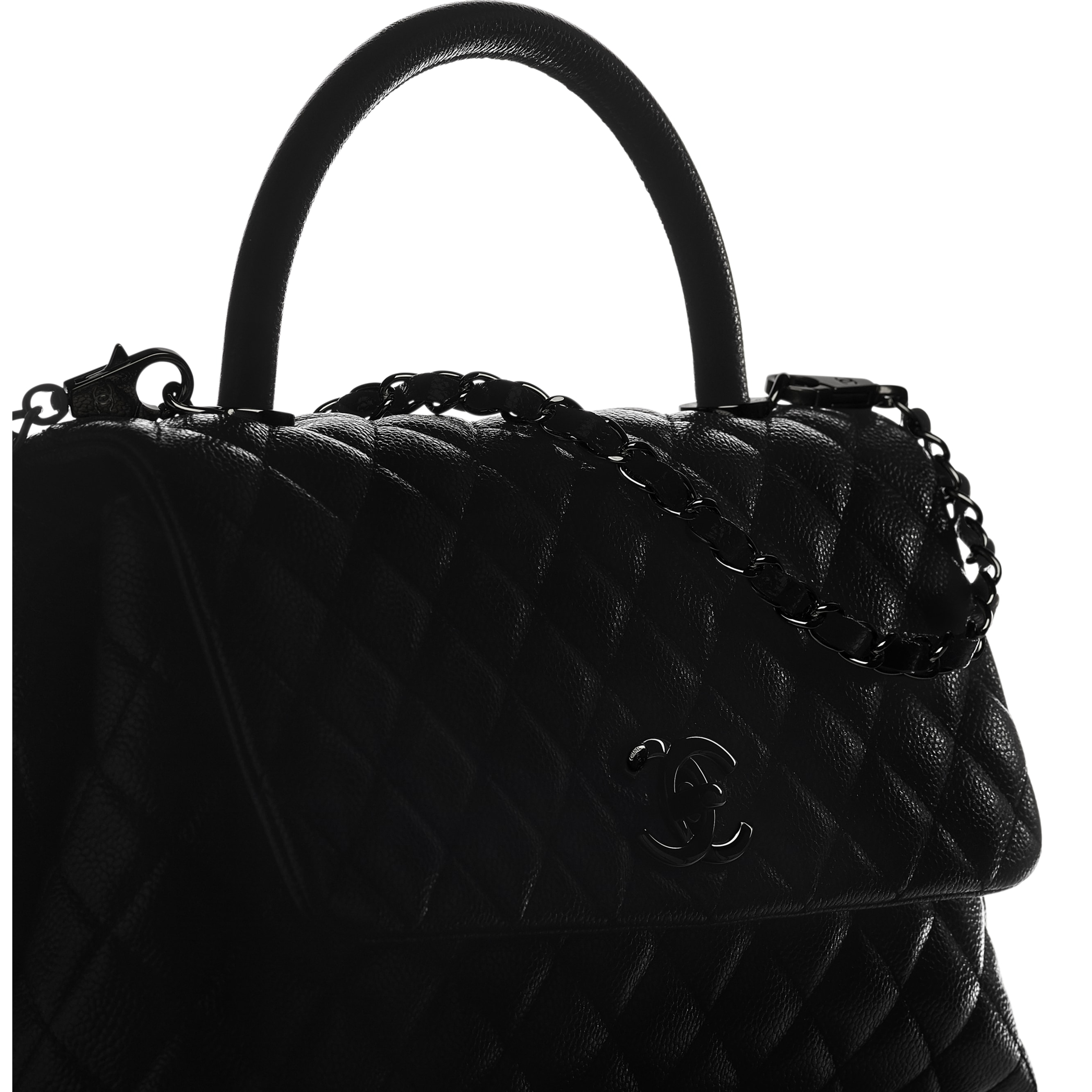 Flap Bag With Top Handle - Black - Grained Calfskin & Black Metal - CHANEL - Extra view - see standard sized version