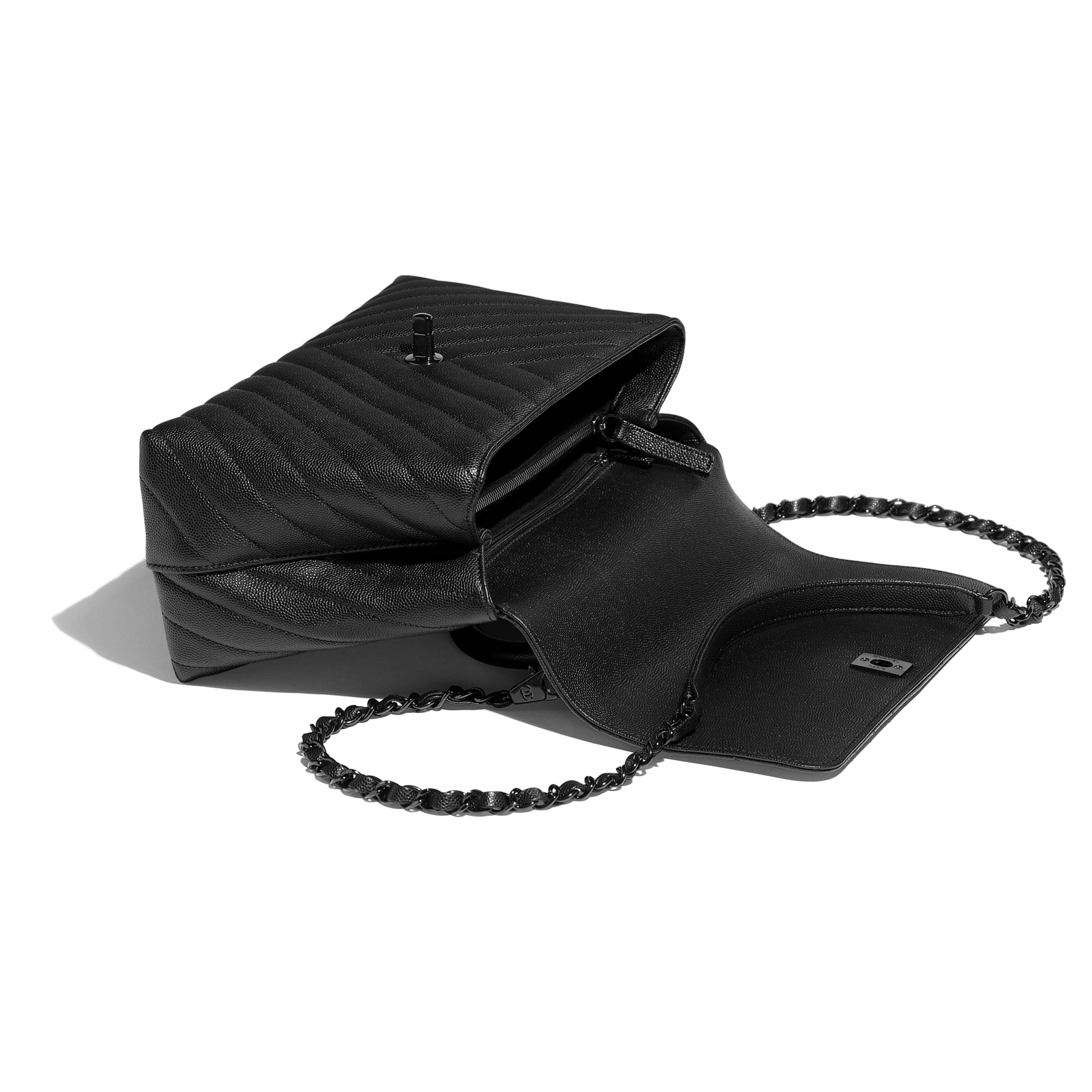 Flap Bag With Top Handle - Black - Grained Calfskin & Black Metal - Other view - see standard sized version