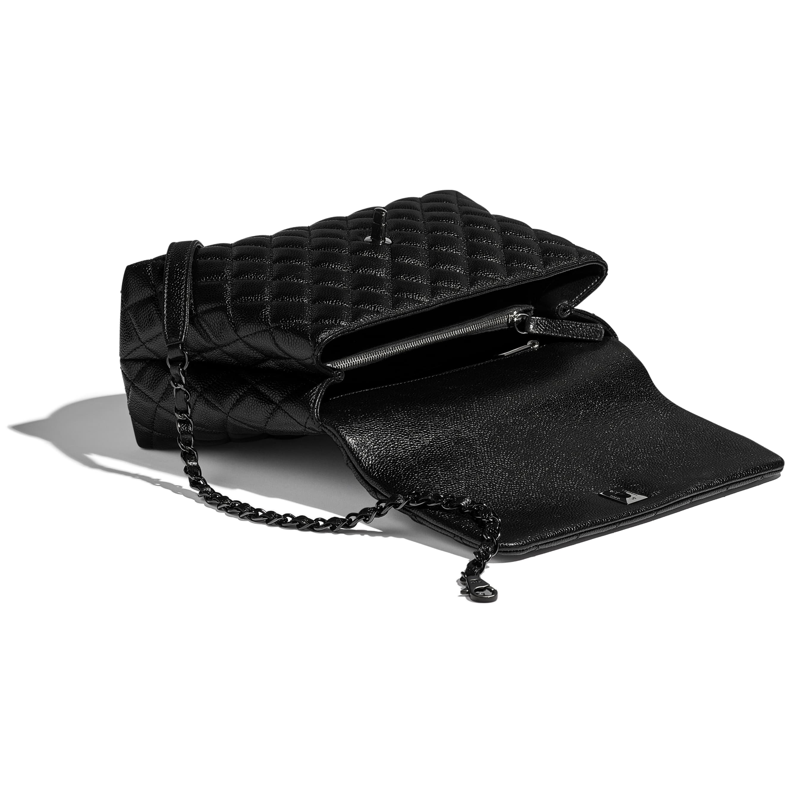 Flap Bag With Top Handle - Black - Grained Calfskin & Black Metal - CHANEL - Other view - see standard sized version