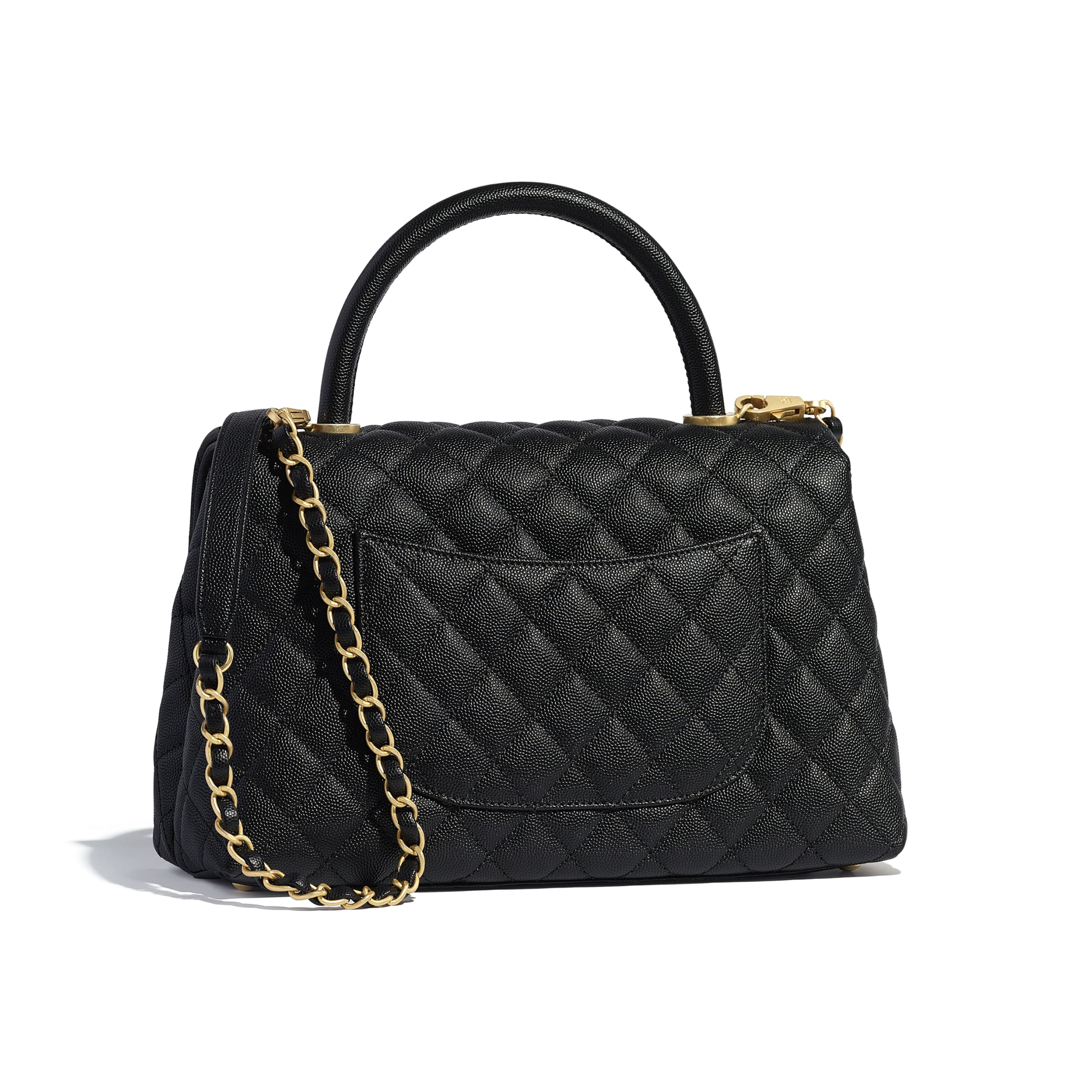 Flap Bag With Top Handle - Black - Grained Calfskin & Gold-Tone Metal - Alternative view - see standard sized version
