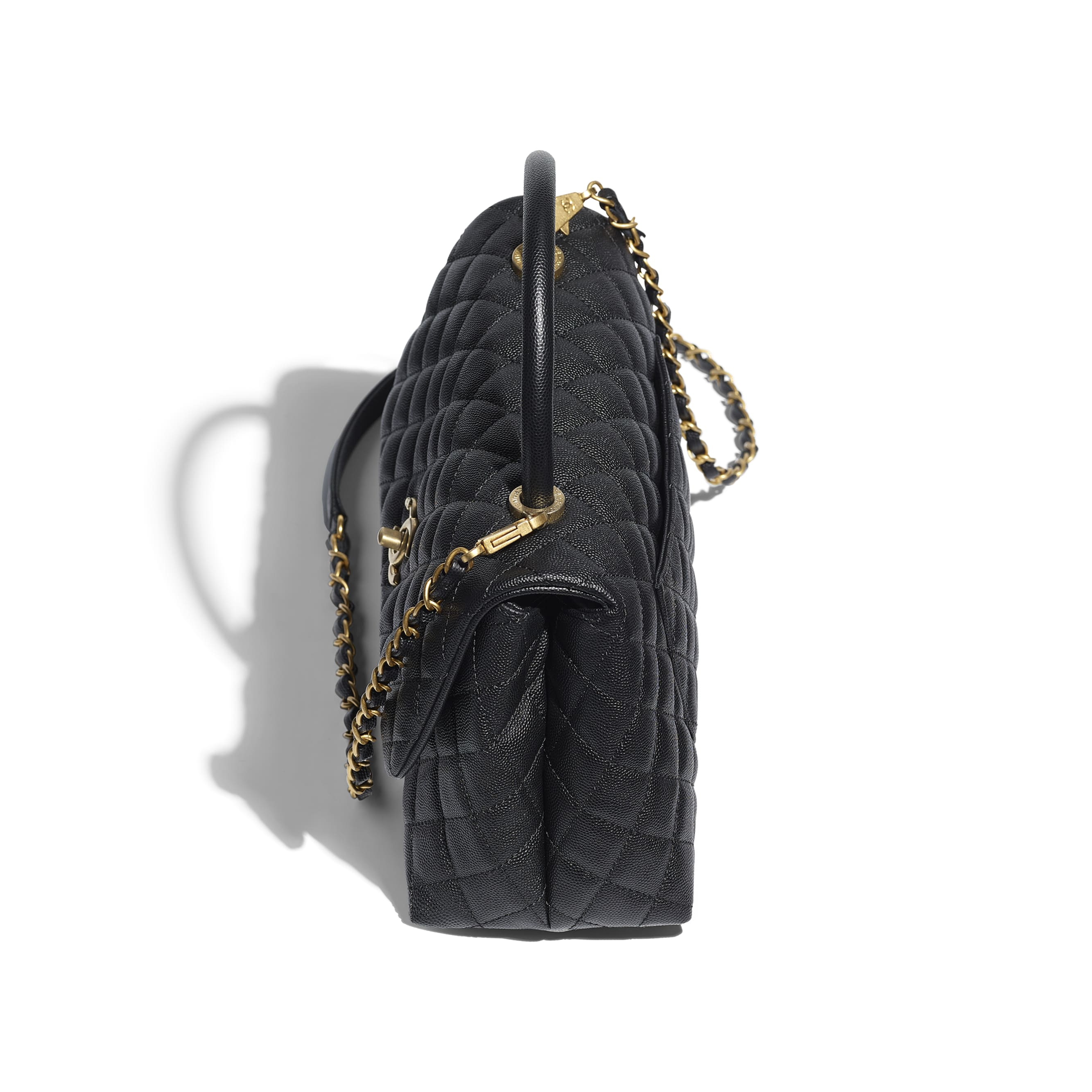 Flap Bag With Top Handle - Black - Grained Calfskin & Gold-Tone Metal - CHANEL - Other view - see standard sized version