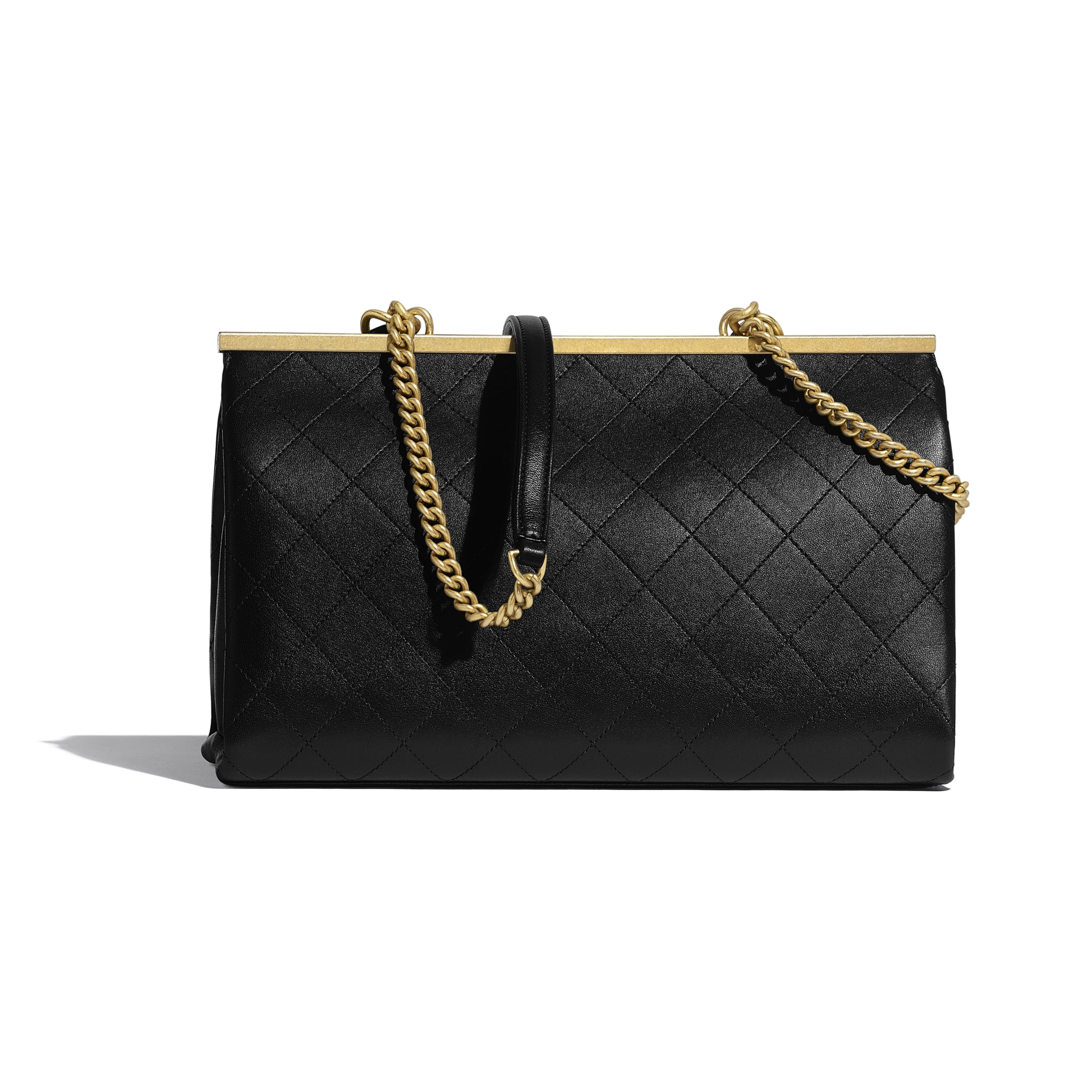 Flap Bag With Top Handle - Black - Lambskin - Alternative view - see standard sized version