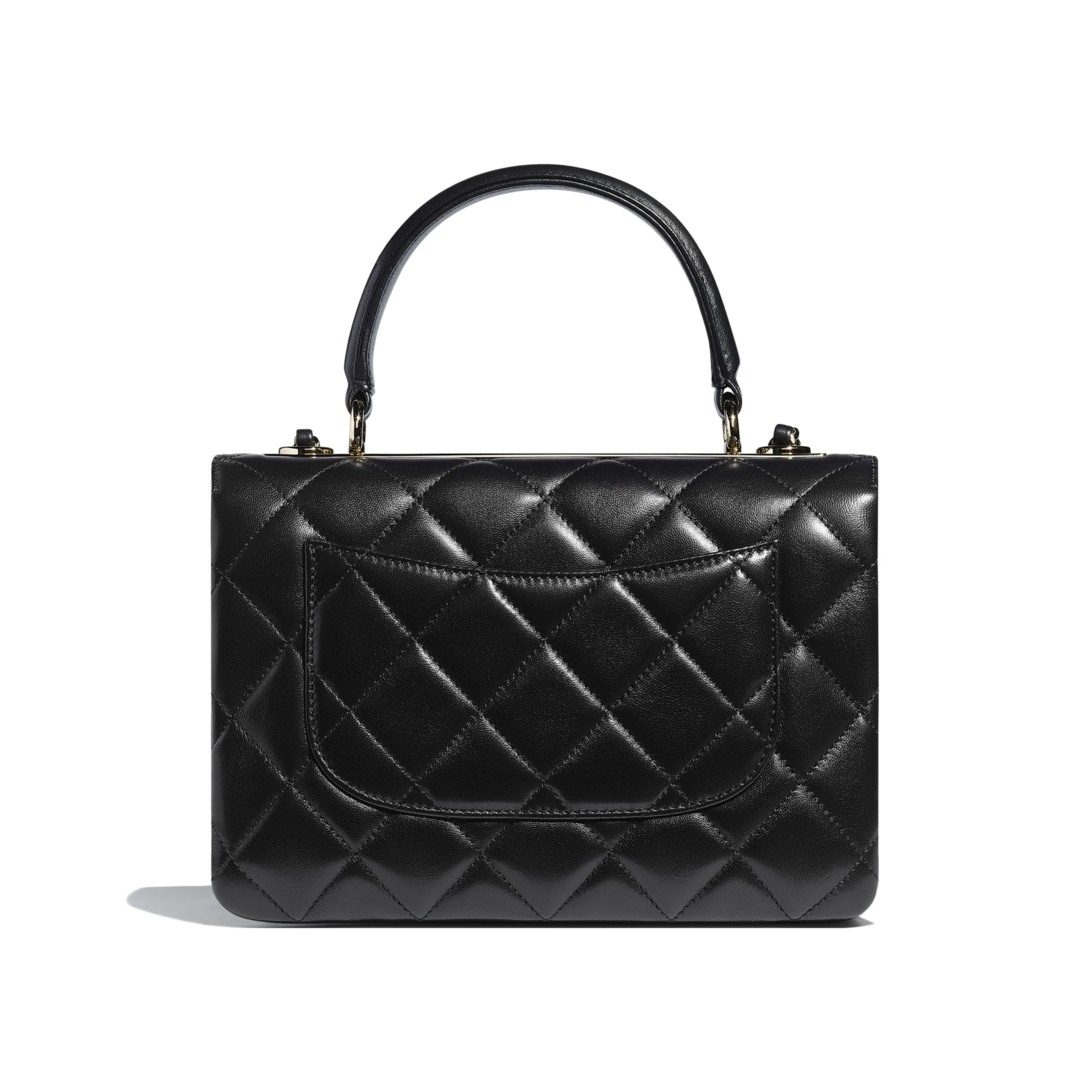 Flap Bag With Top Handle - Black - Lambskin - CHANEL - Alternative view - see standard sized version