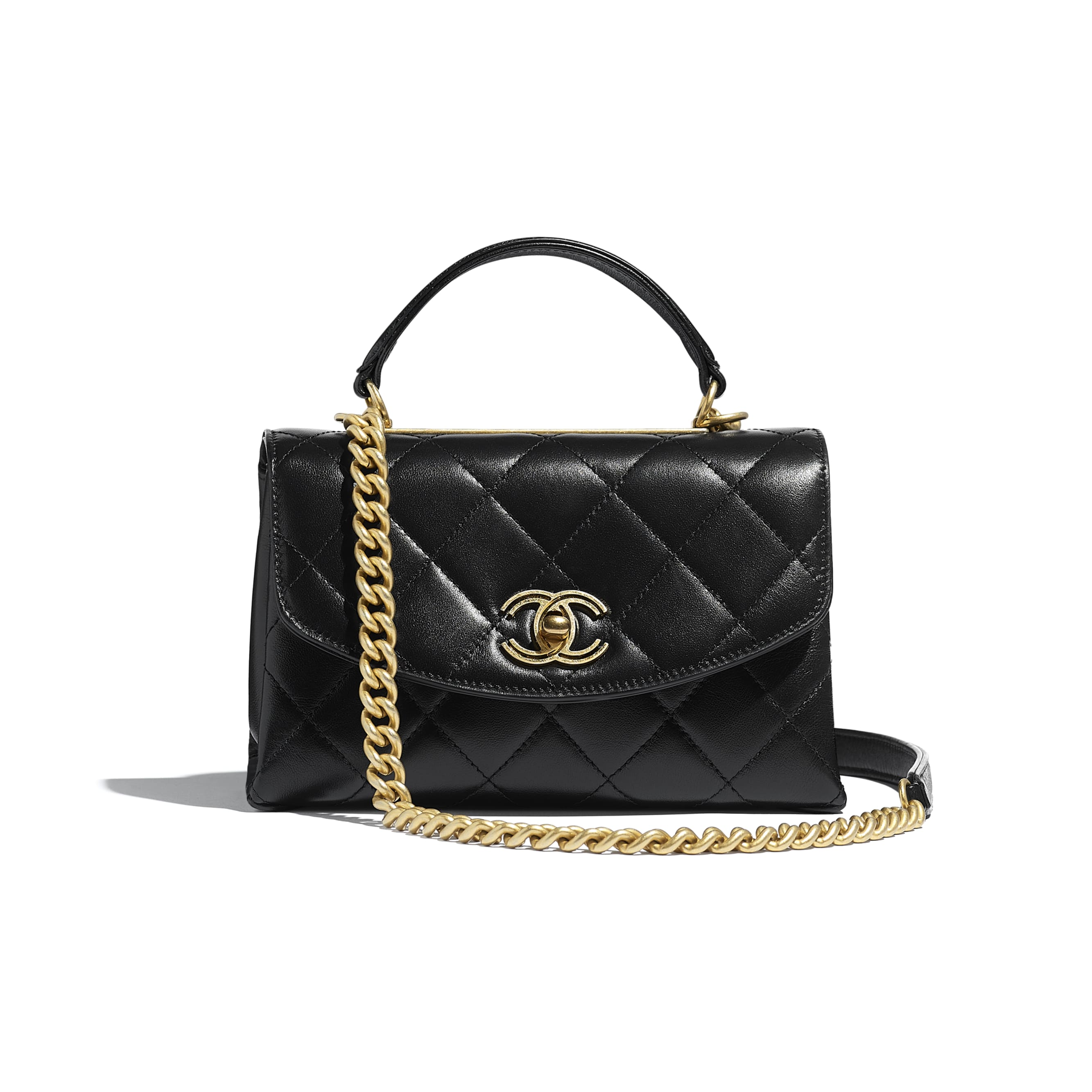 Flap Bag With Top Handle - Black - Lambskin - Default view - see standard sized version