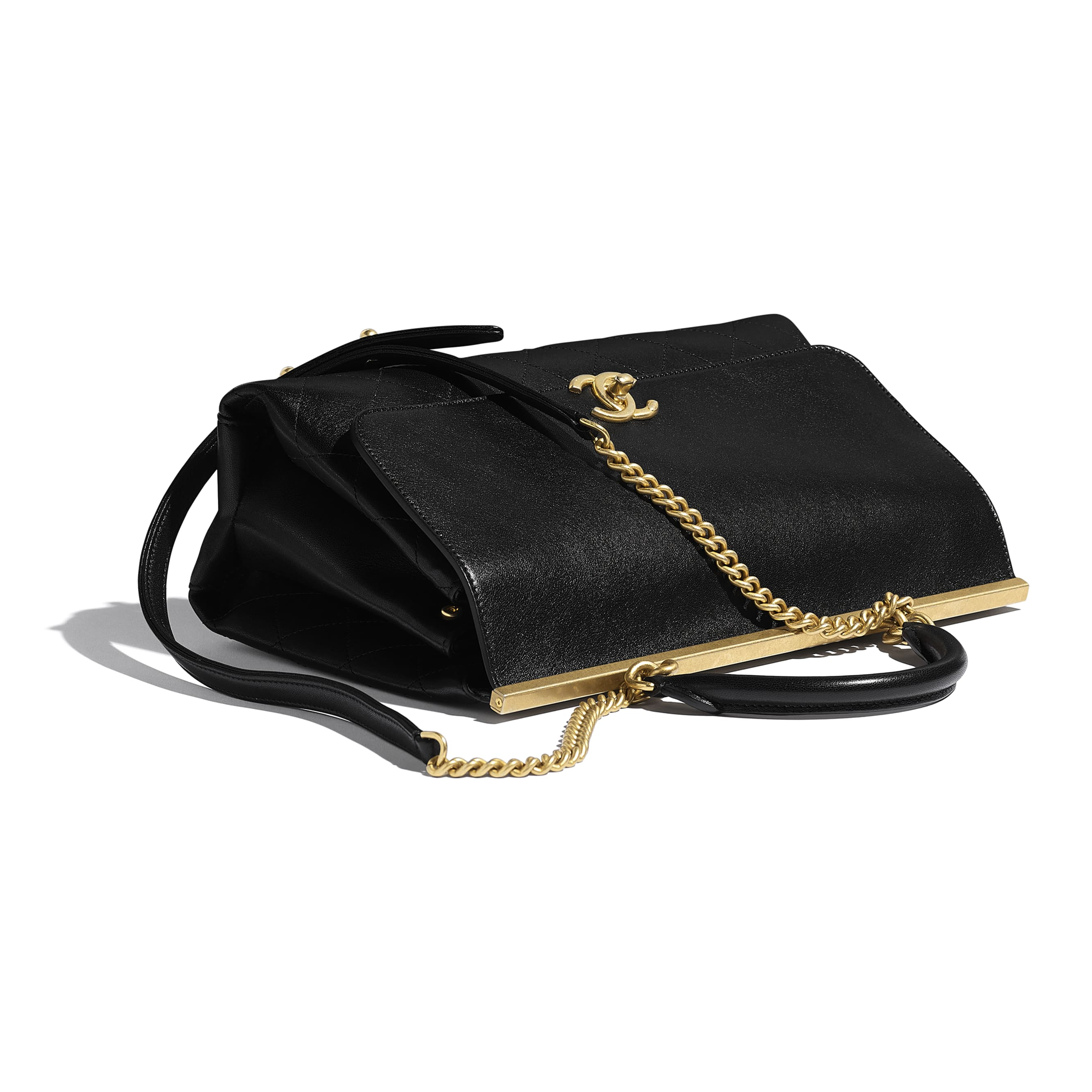 Flap Bag With Top Handle - Black - Lambskin - Extra view - see standard sized version