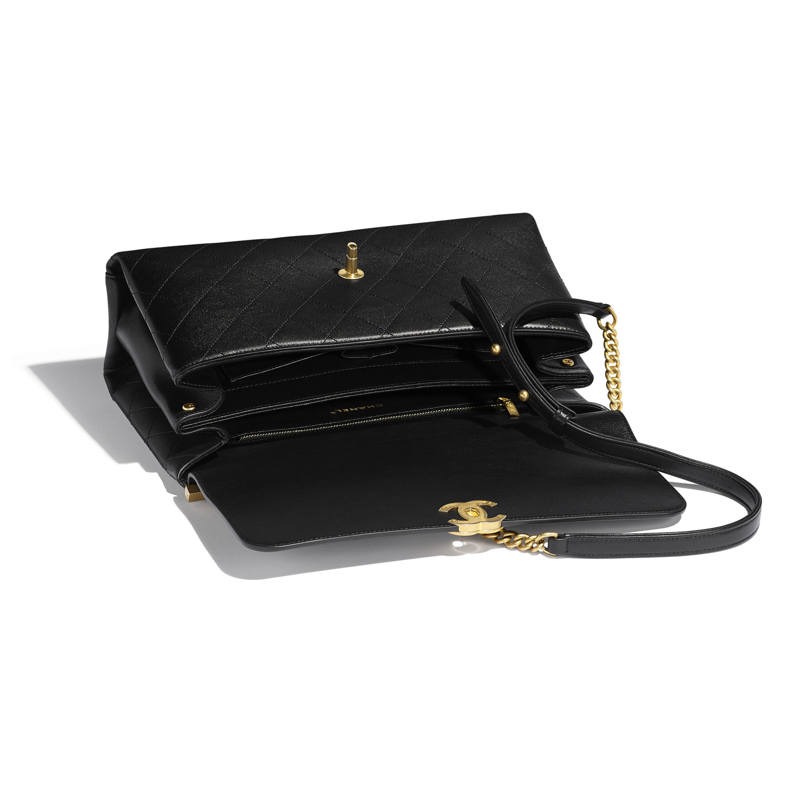 Flap Bag With Top Handle - Black - Lambskin - Other view - see standard sized version