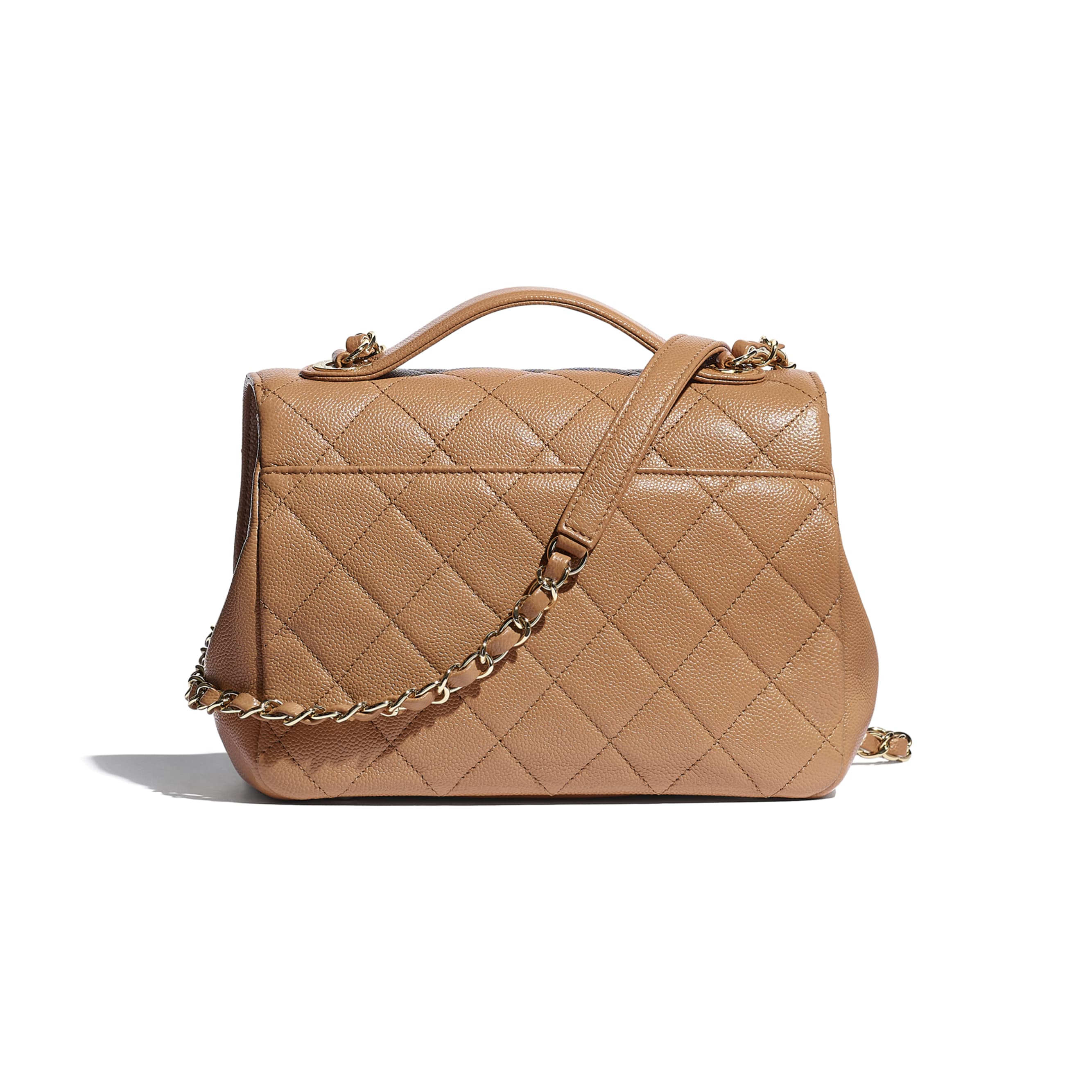 Flap Bag With Top Handle - Brown - Grained Calfskin & Gold-Tone Metal - CHANEL - Alternative view - see standard sized version