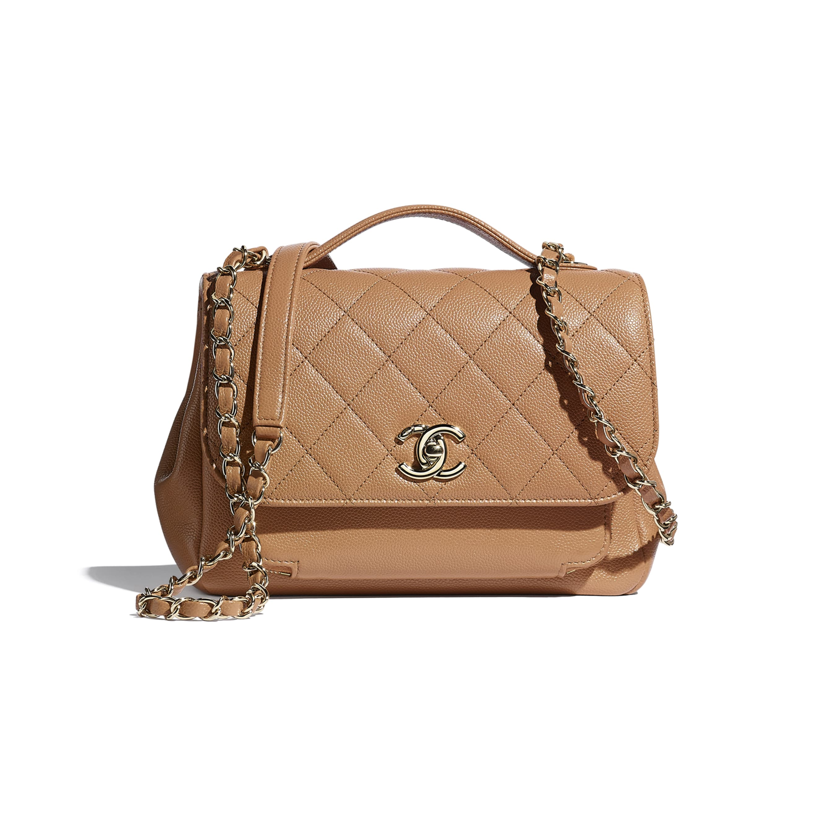 Flap Bag With Top Handle - Brown - Grained Calfskin & Gold-Tone Metal - CHANEL - Default view - see standard sized version