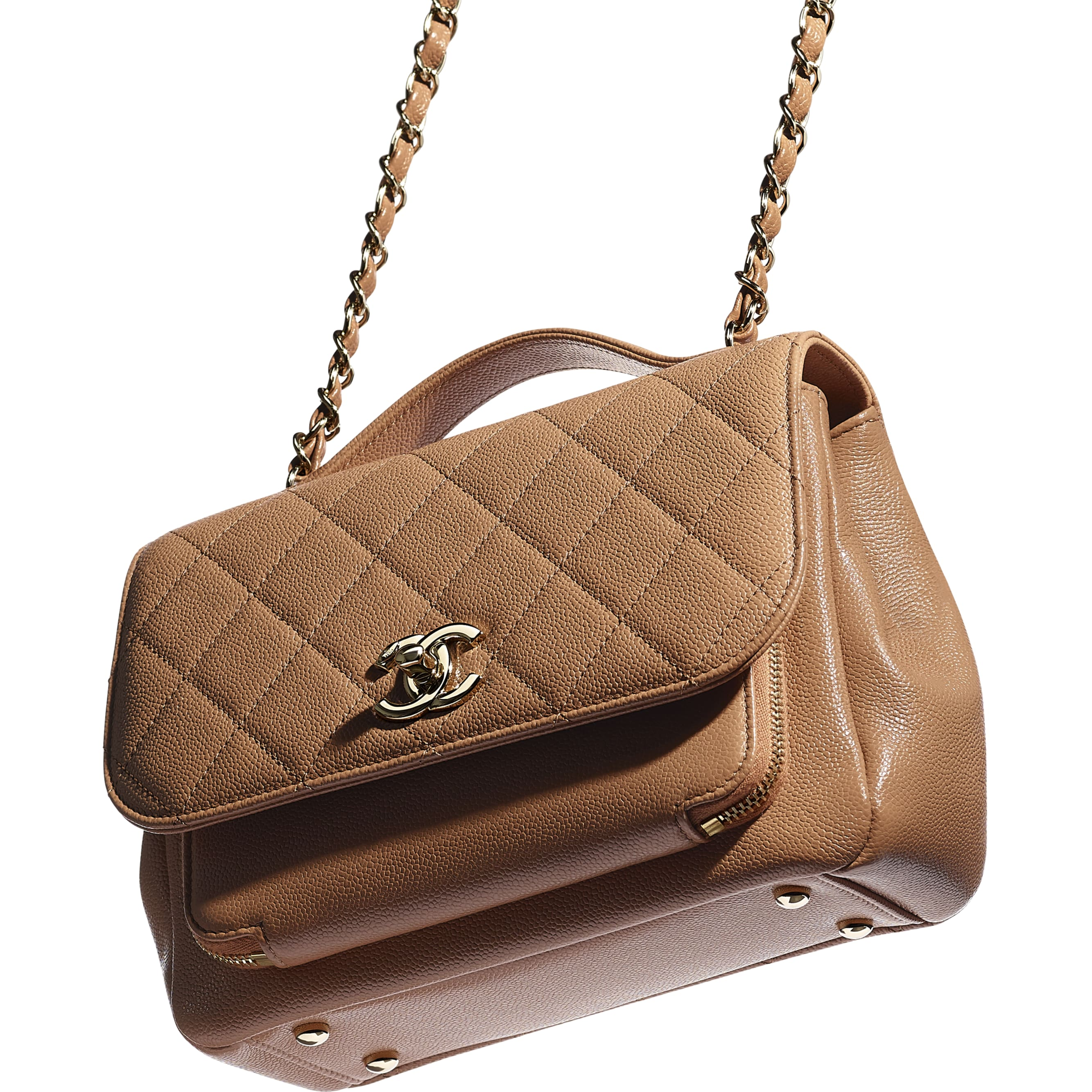 Flap Bag With Top Handle - Brown - Grained Calfskin & Gold-Tone Metal - CHANEL - Extra view - see standard sized version