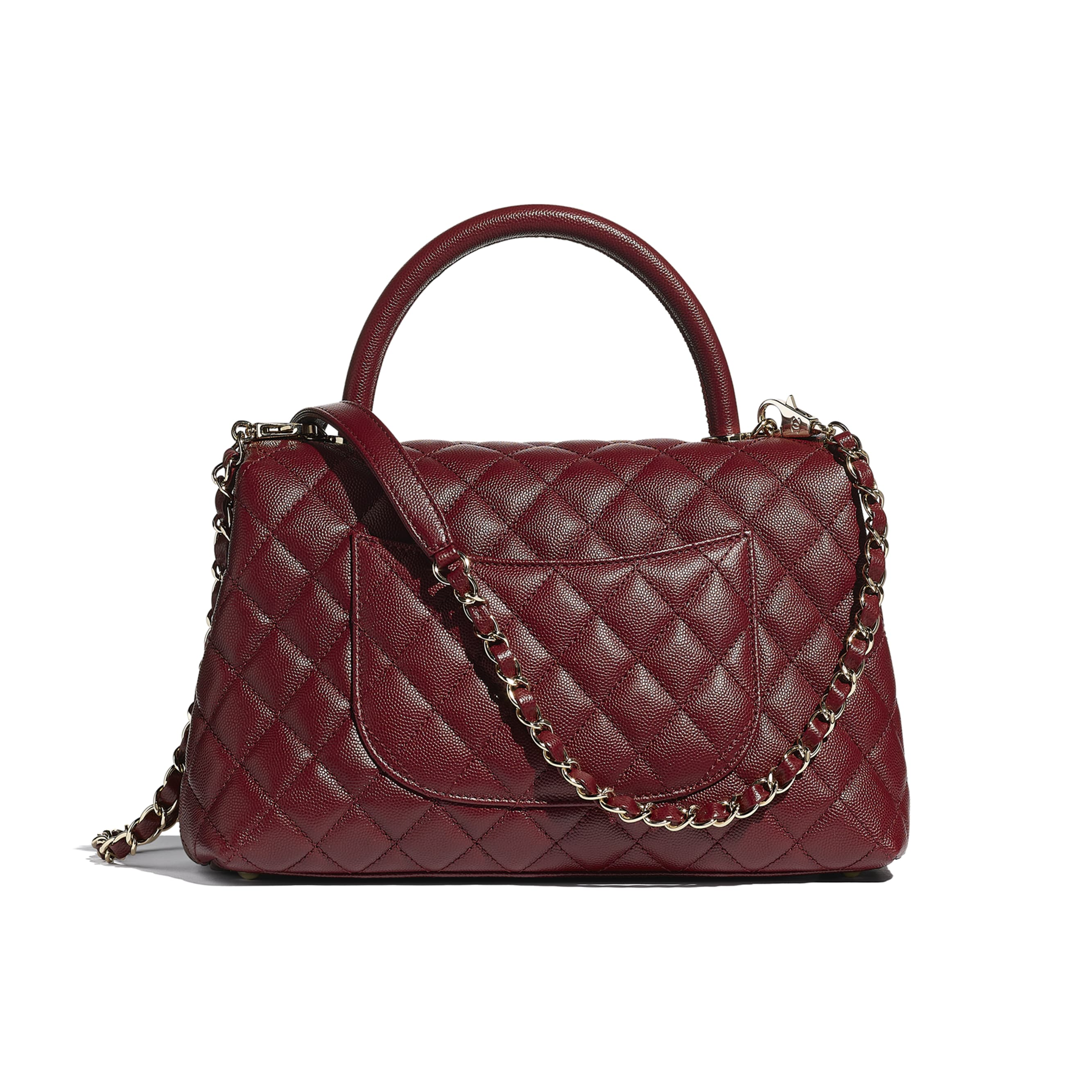 Flap Bag With Top Handle - Burgundy - Grained Calfskin & Gold-Tone Metal - CHANEL - Alternative view - see standard sized version