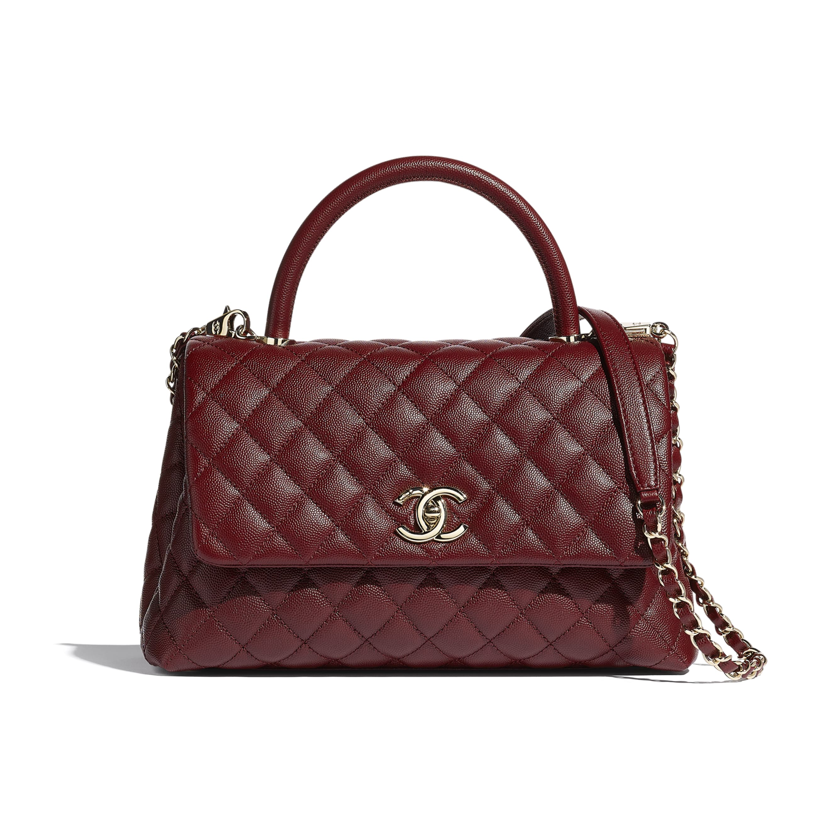Flap Bag With Top Handle - Burgundy - Grained Calfskin & Gold-Tone Metal - CHANEL - Default view - see standard sized version