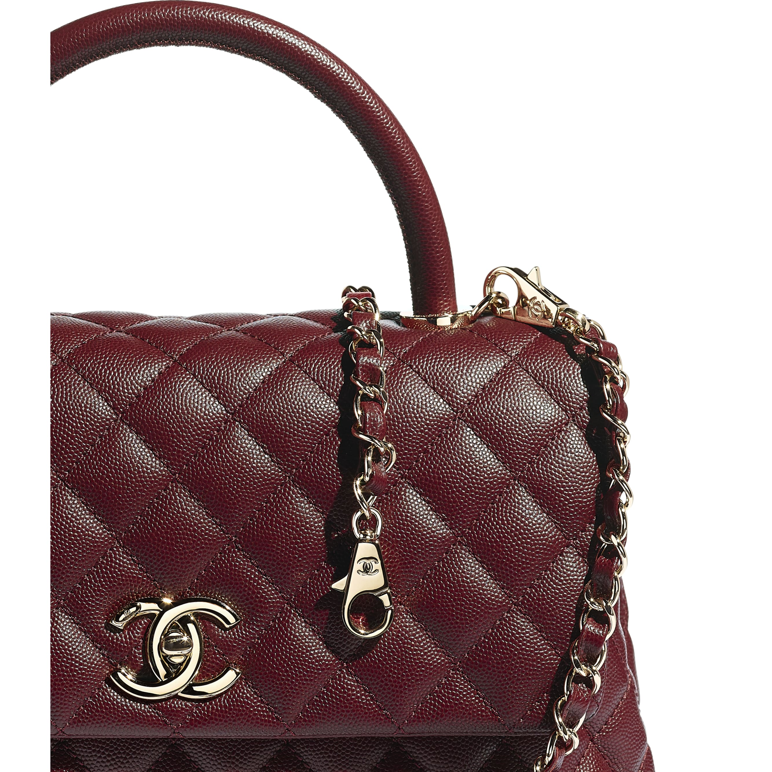 Flap Bag With Top Handle - Burgundy - Grained Calfskin & Gold-Tone Metal - CHANEL - Extra view - see standard sized version