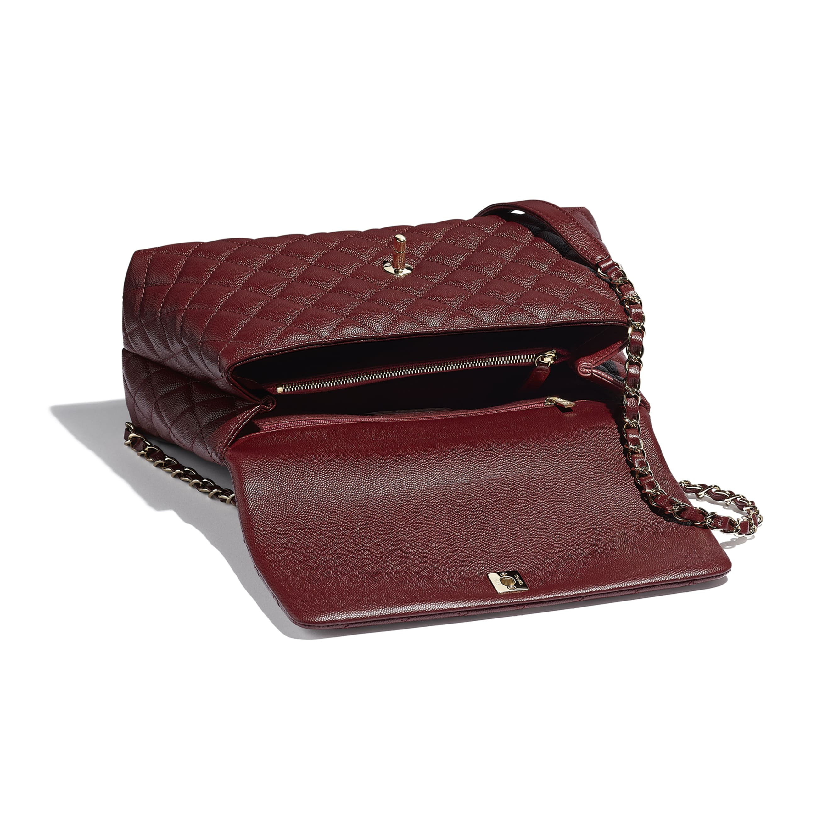 Flap Bag With Top Handle - Burgundy - Grained Calfskin & Gold-Tone Metal - CHANEL - Other view - see standard sized version