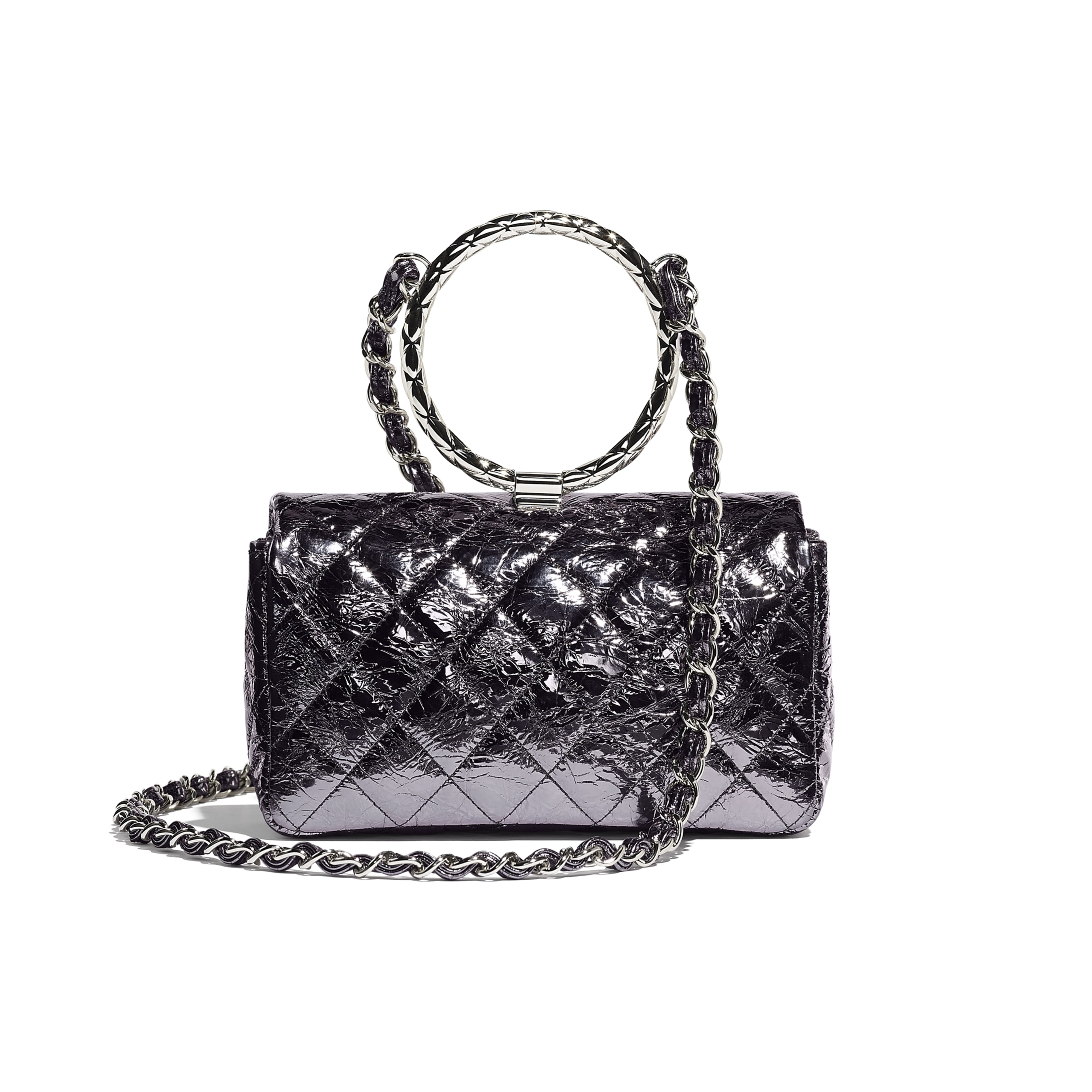 Flap Bag With Top Handle - Charcoal - Metallic Crackled Calfskin & Silver-Tone Metal - Alternative view - see standard sized version