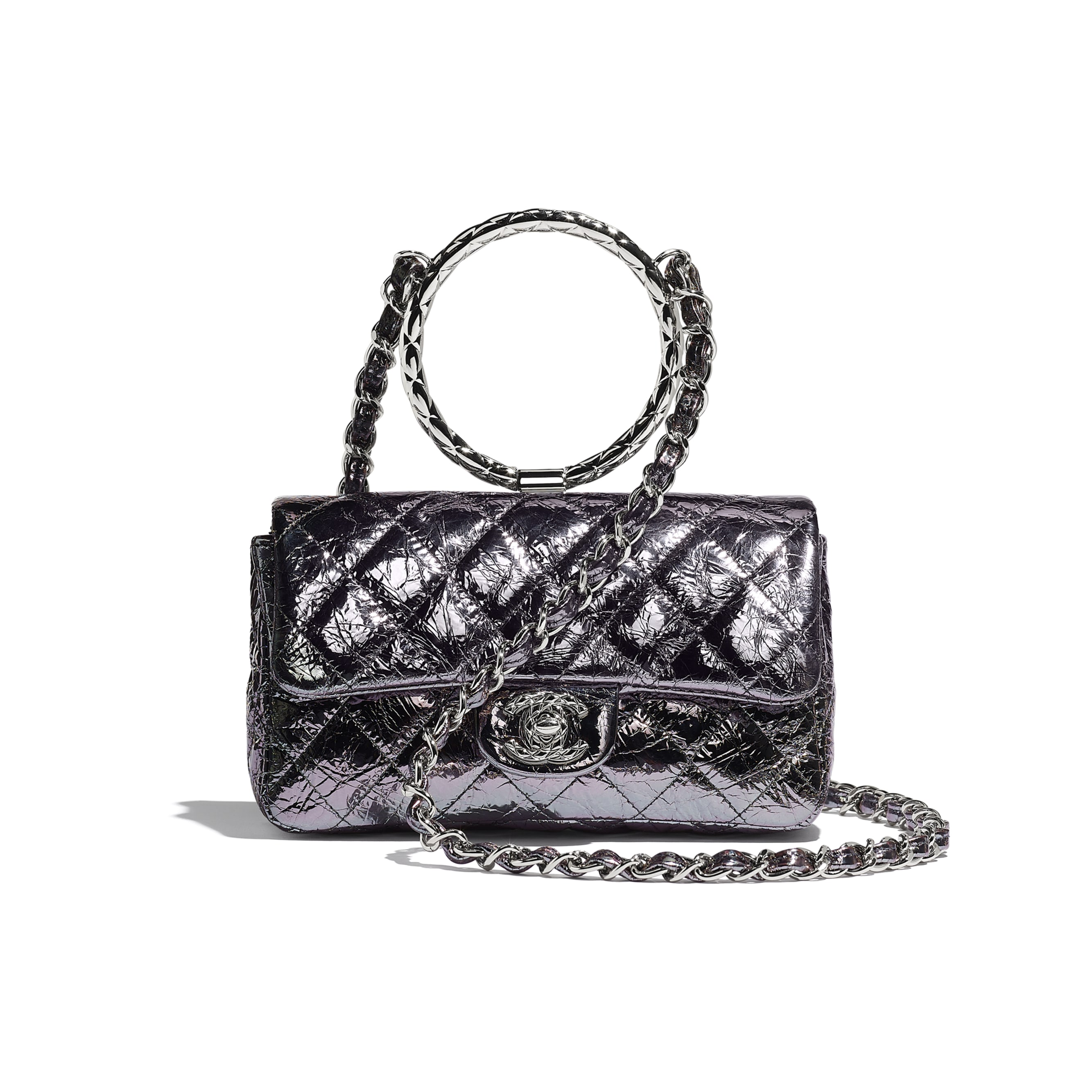 Flap Bag With Top Handle - Charcoal - Metallic Crackled Calfskin & Silver-Tone Metal - Default view - see standard sized version