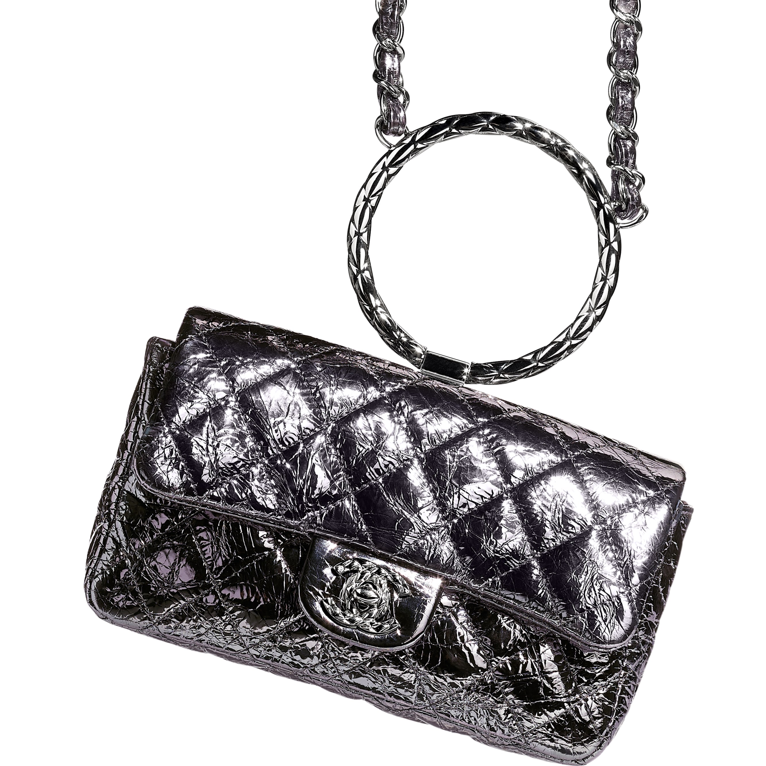 Flap Bag With Top Handle - Charcoal - Metallic Crackled Calfskin & Silver-Tone Metal - Extra view - see standard sized version