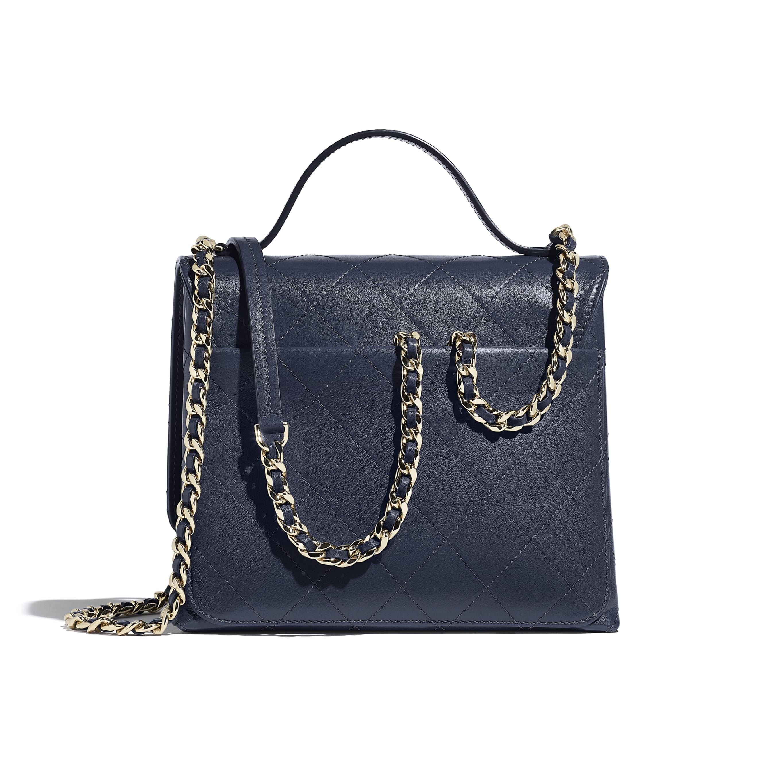Flap Bag with Top Handle - Navy Blue - Calfskin & Gold-Tone Metal - Alternative view - see standard sized version