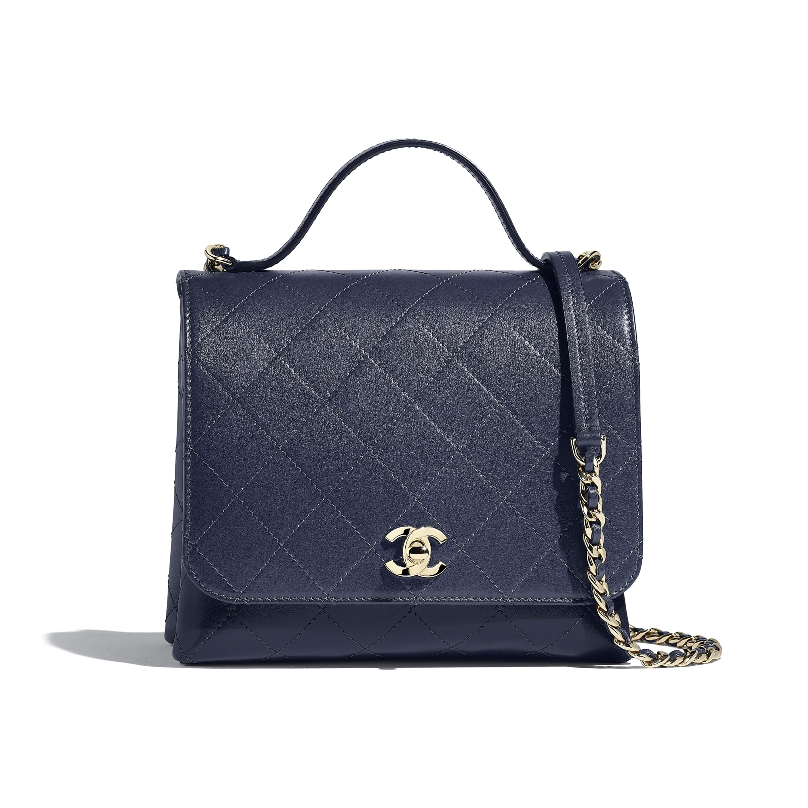 Flap Bag with Top Handle - Navy Blue - Calfskin & Gold-Tone Metal - Default view - see standard sized version