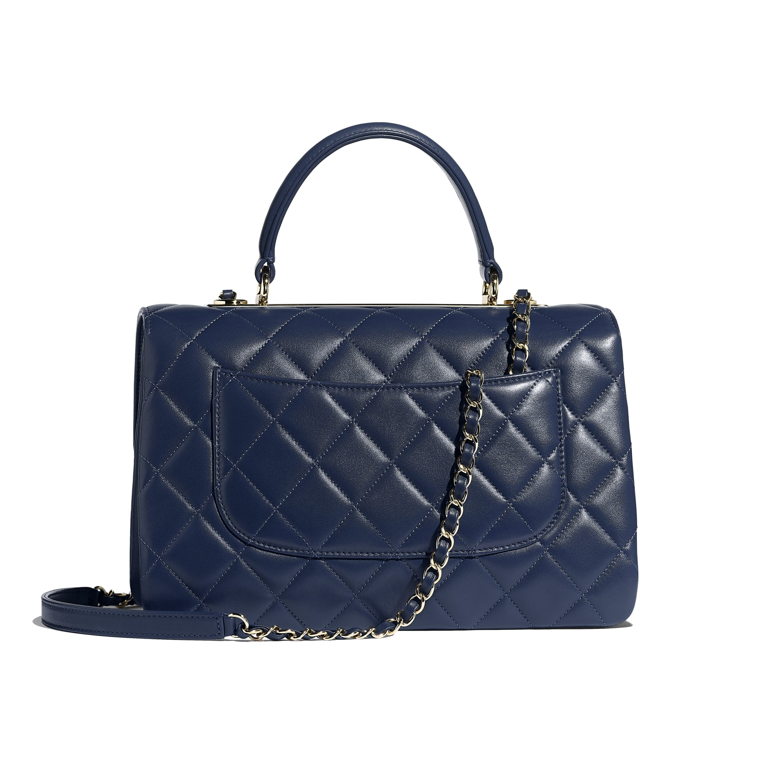 Flap Bag with Top Handle - Navy Blue - Lambskin & Gold-Tone Metal - CHANEL - Alternative view - see standard sized version