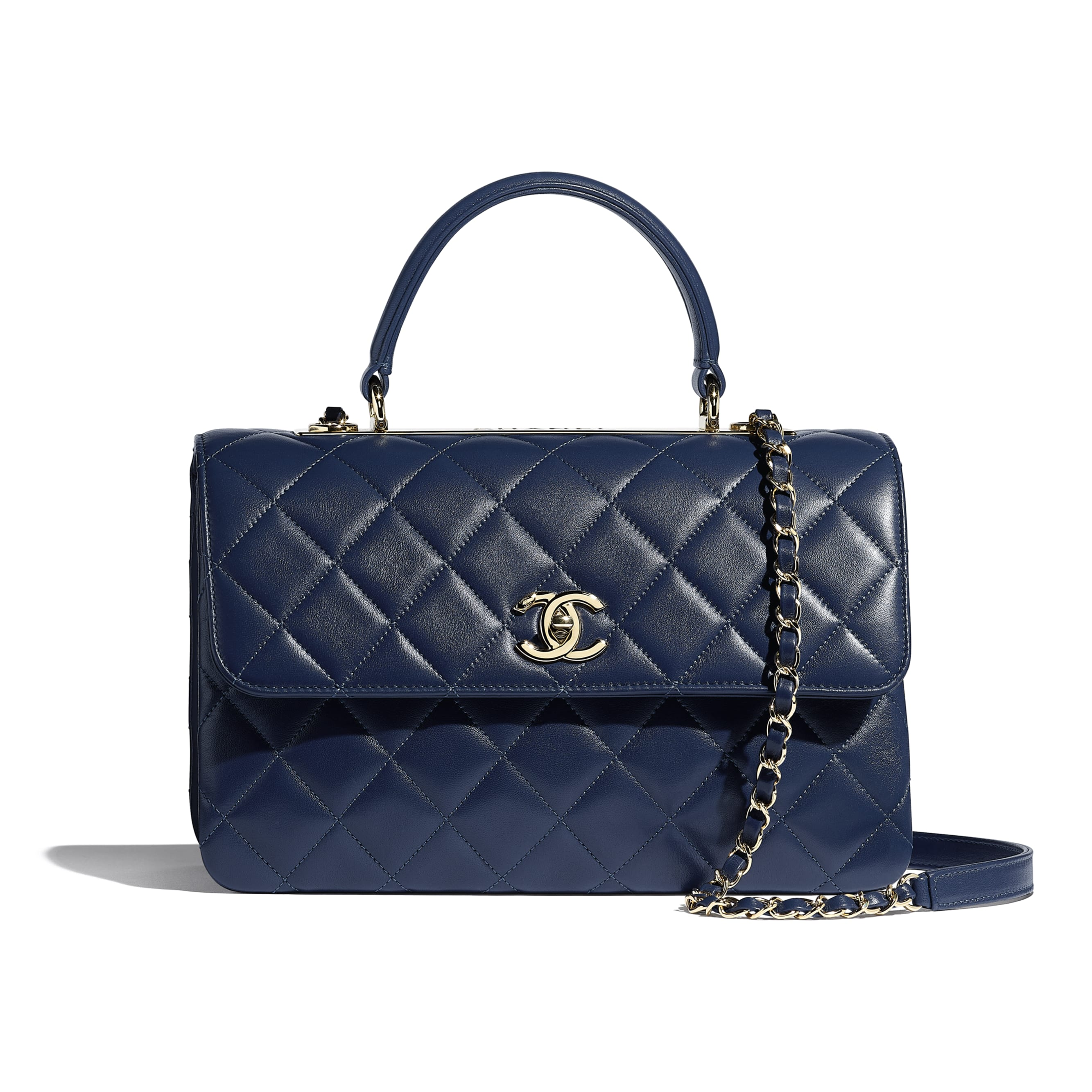 Flap Bag with Top Handle - Navy Blue - Lambskin & Gold-Tone Metal - CHANEL - Default view - see standard sized version