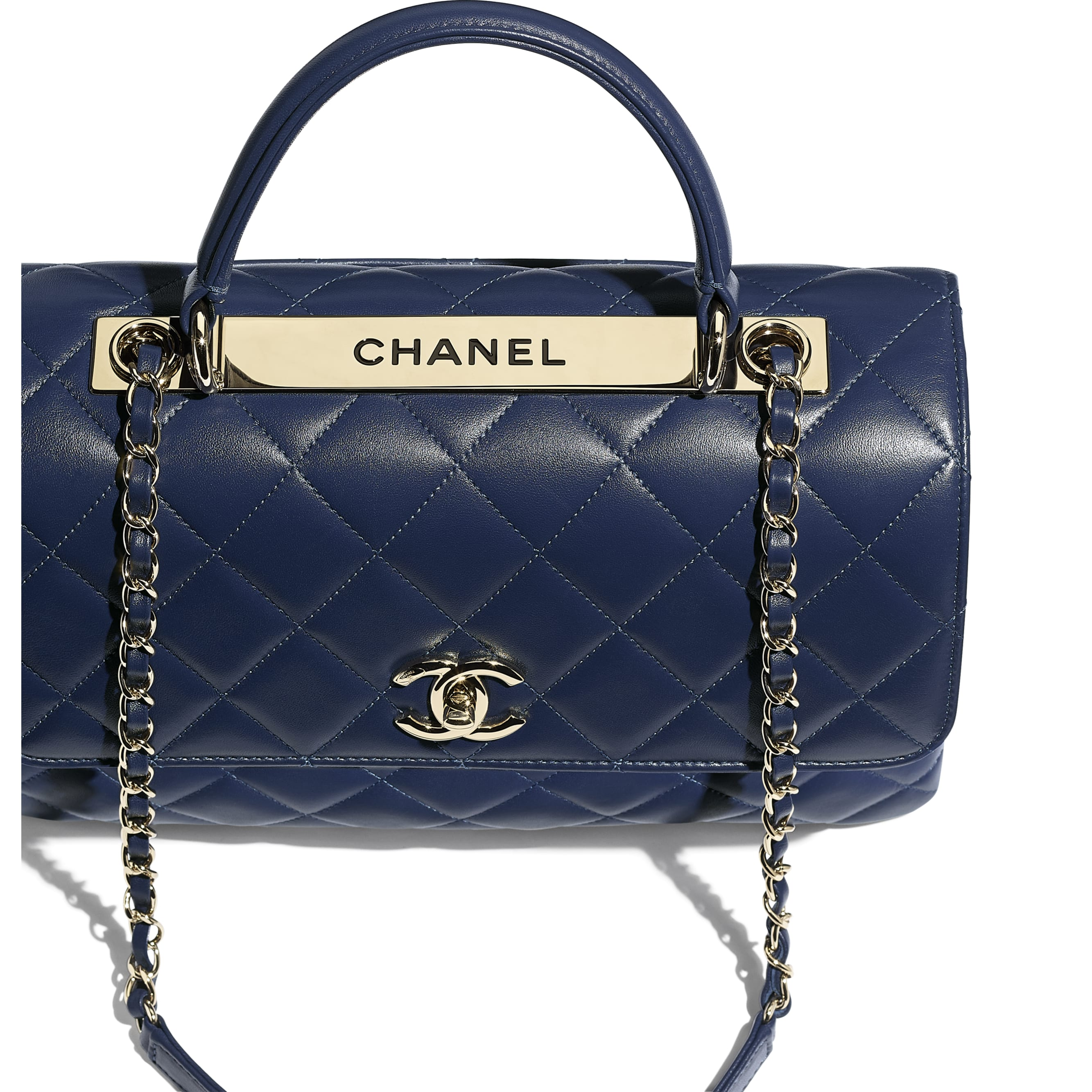 Flap Bag with Top Handle - Navy Blue - Lambskin & Gold-Tone Metal - CHANEL - Extra view - see standard sized version