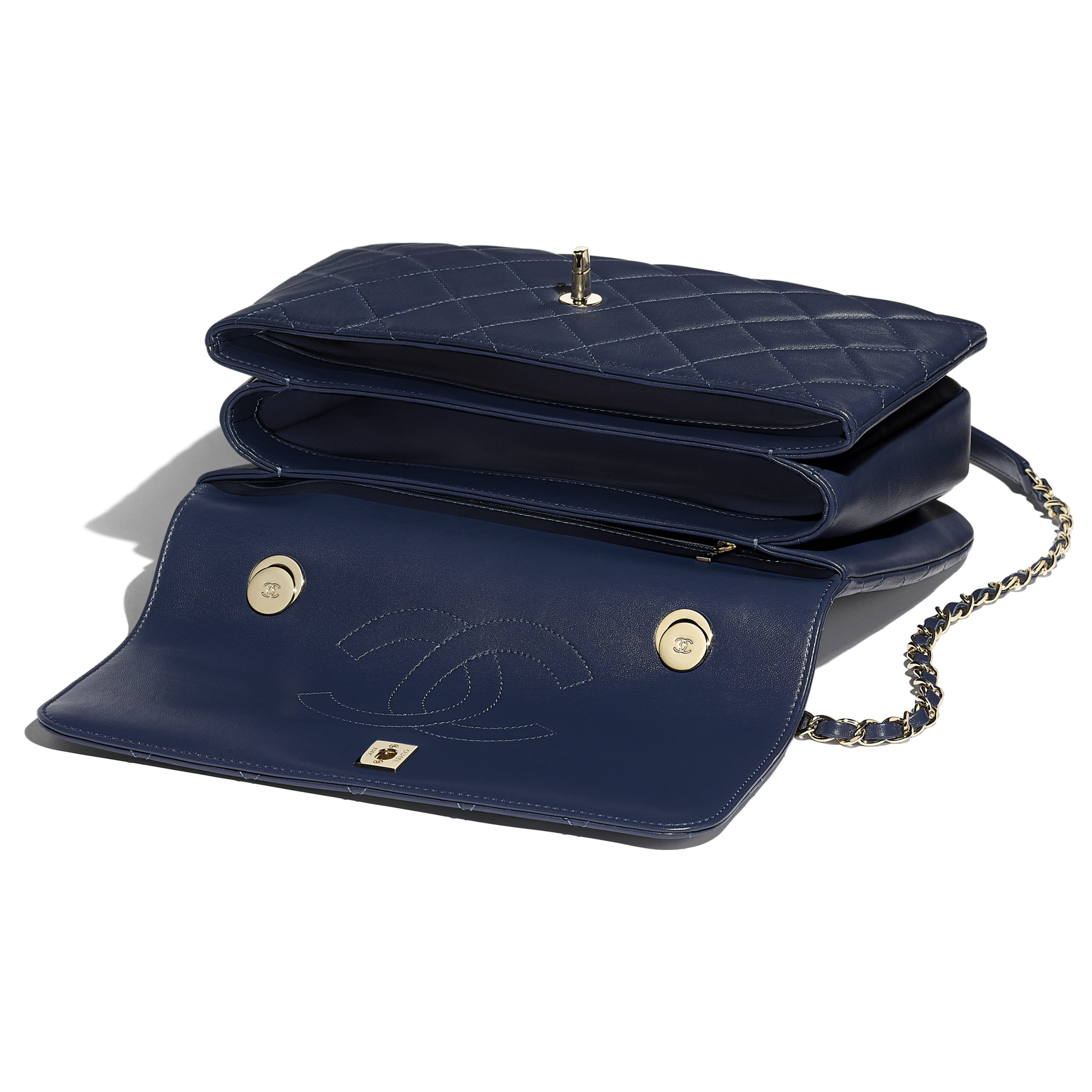 Flap Bag with Top Handle - Navy Blue - Lambskin & Gold-Tone Metal - CHANEL - Other view - see standard sized version