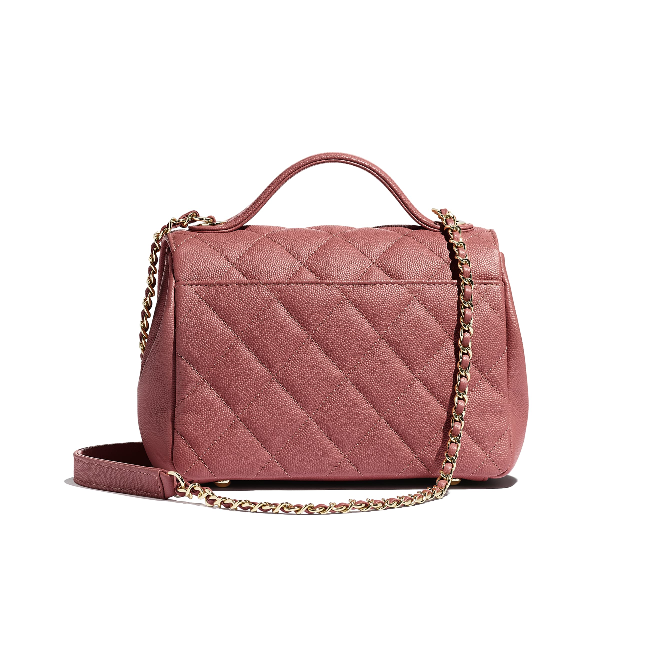 Flap Bag with Top Handle - Pink - Grained Calfskin & Gold-Tone Metal - Alternative view - see standard sized version