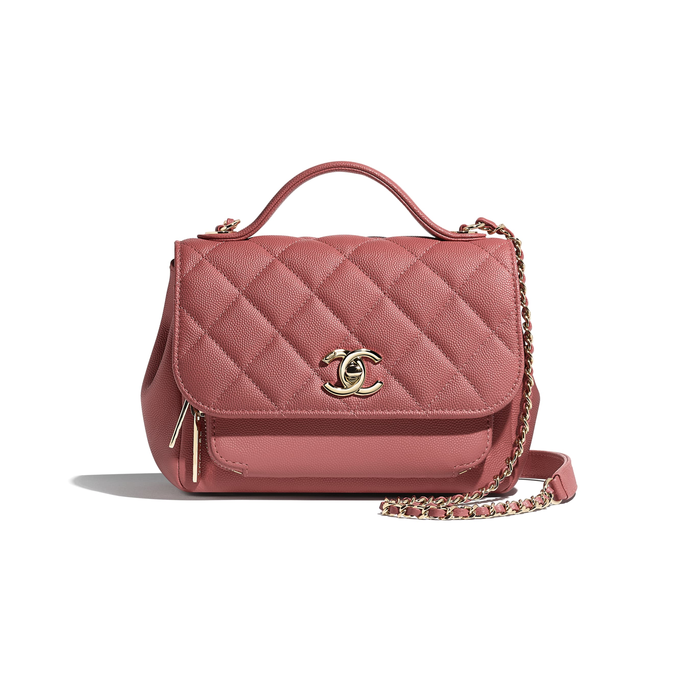 Flap Bag with Top Handle - Pink - Grained Calfskin & Gold-Tone Metal - Default view - see standard sized version
