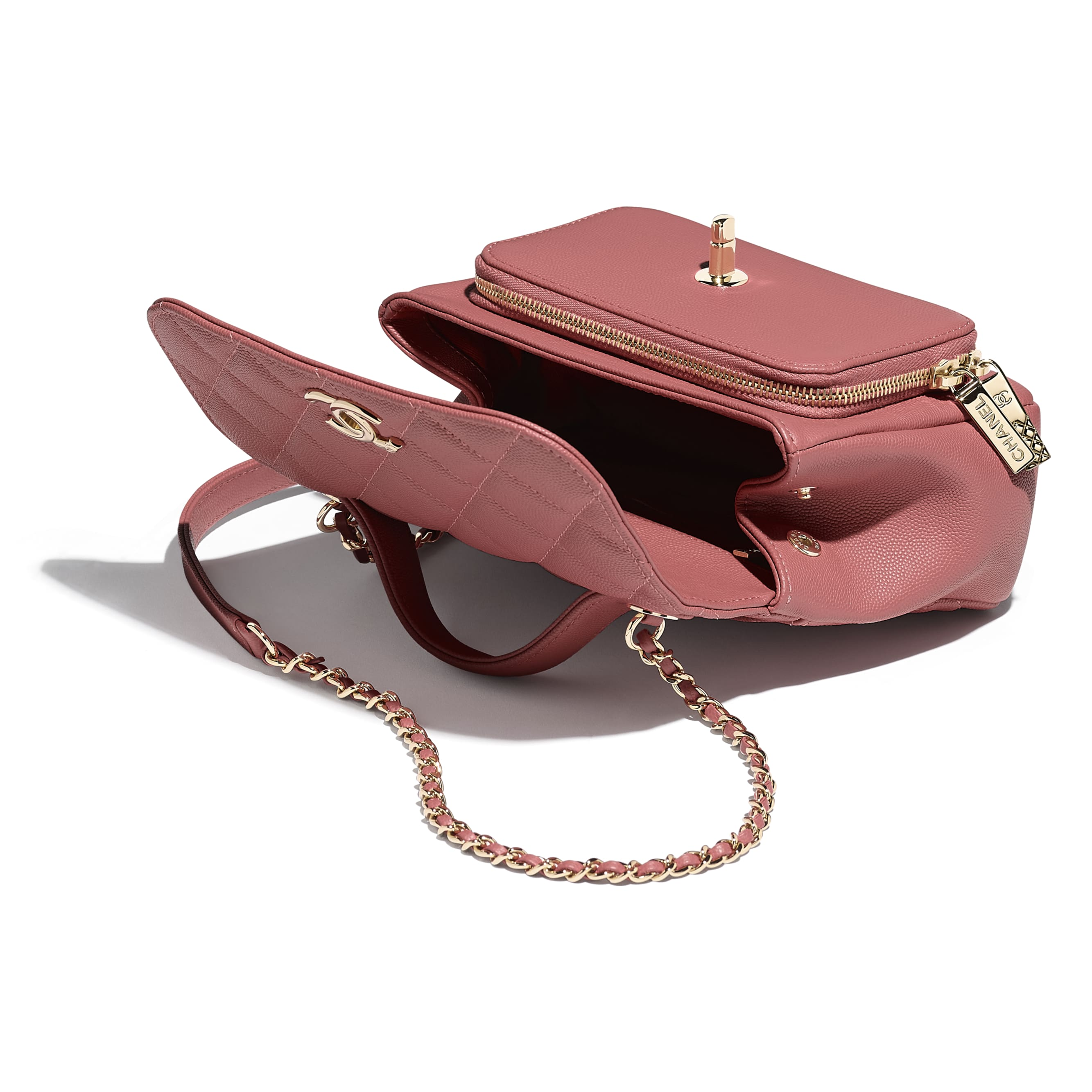 Flap Bag with Top Handle - Pink - Grained Calfskin & Gold-Tone Metal - Other view - see standard sized version
