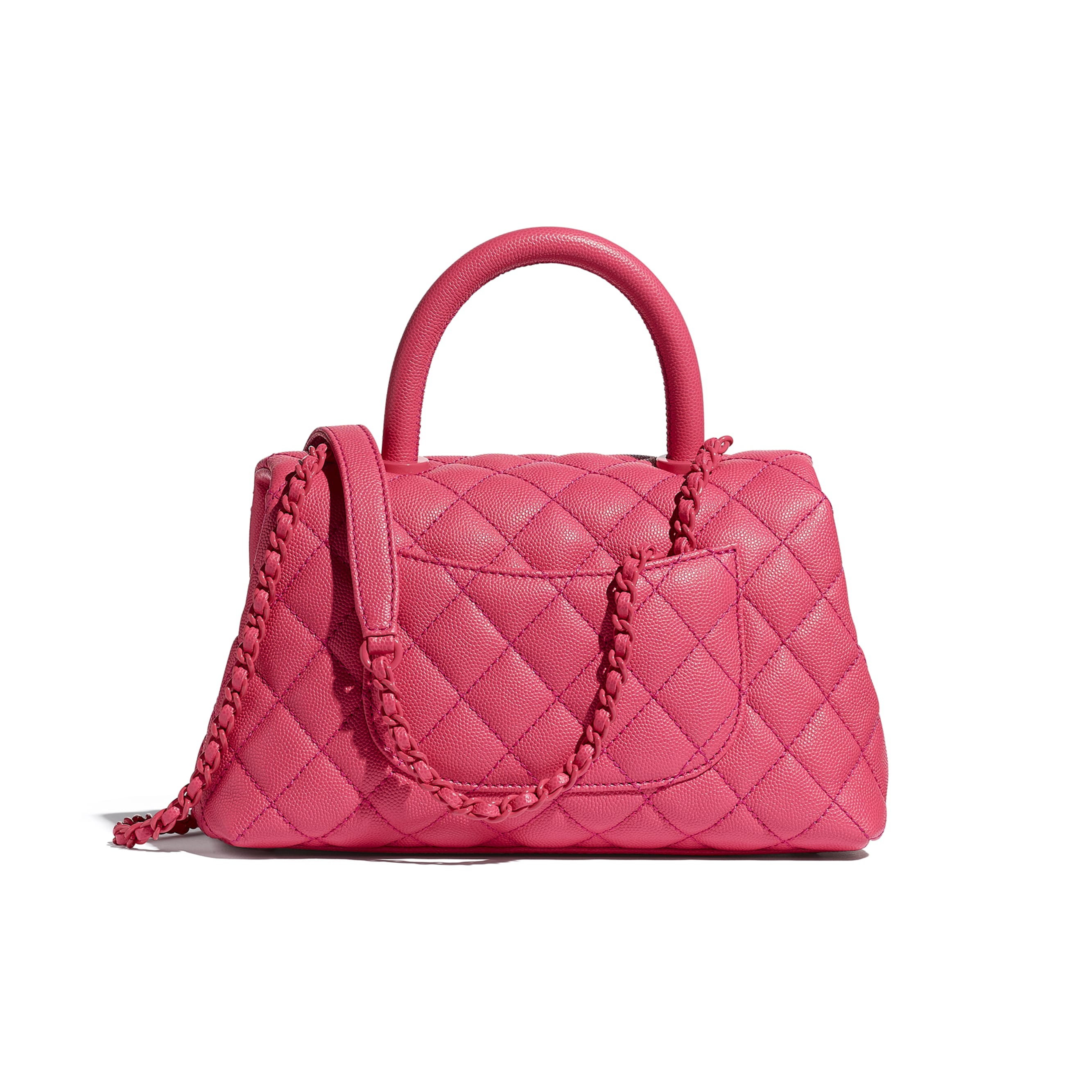 Flap Bag With Top Handle - Pink - Grained Calfskin & Lacquered Metal - CHANEL - Alternative view - see standard sized version