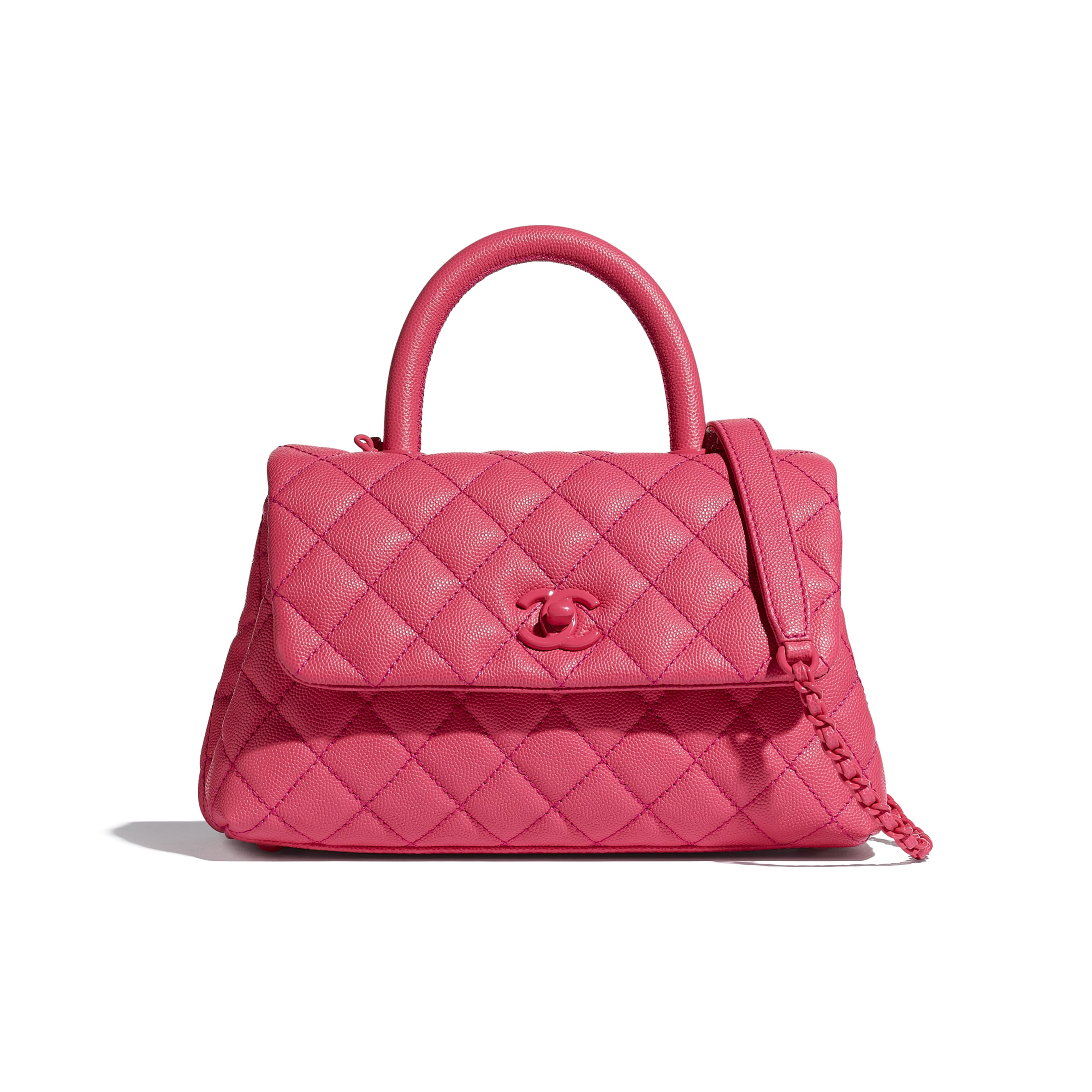 Flap Bag With Top Handle - Pink - Grained Calfskin & Lacquered Metal - CHANEL - Default view - see standard sized version
