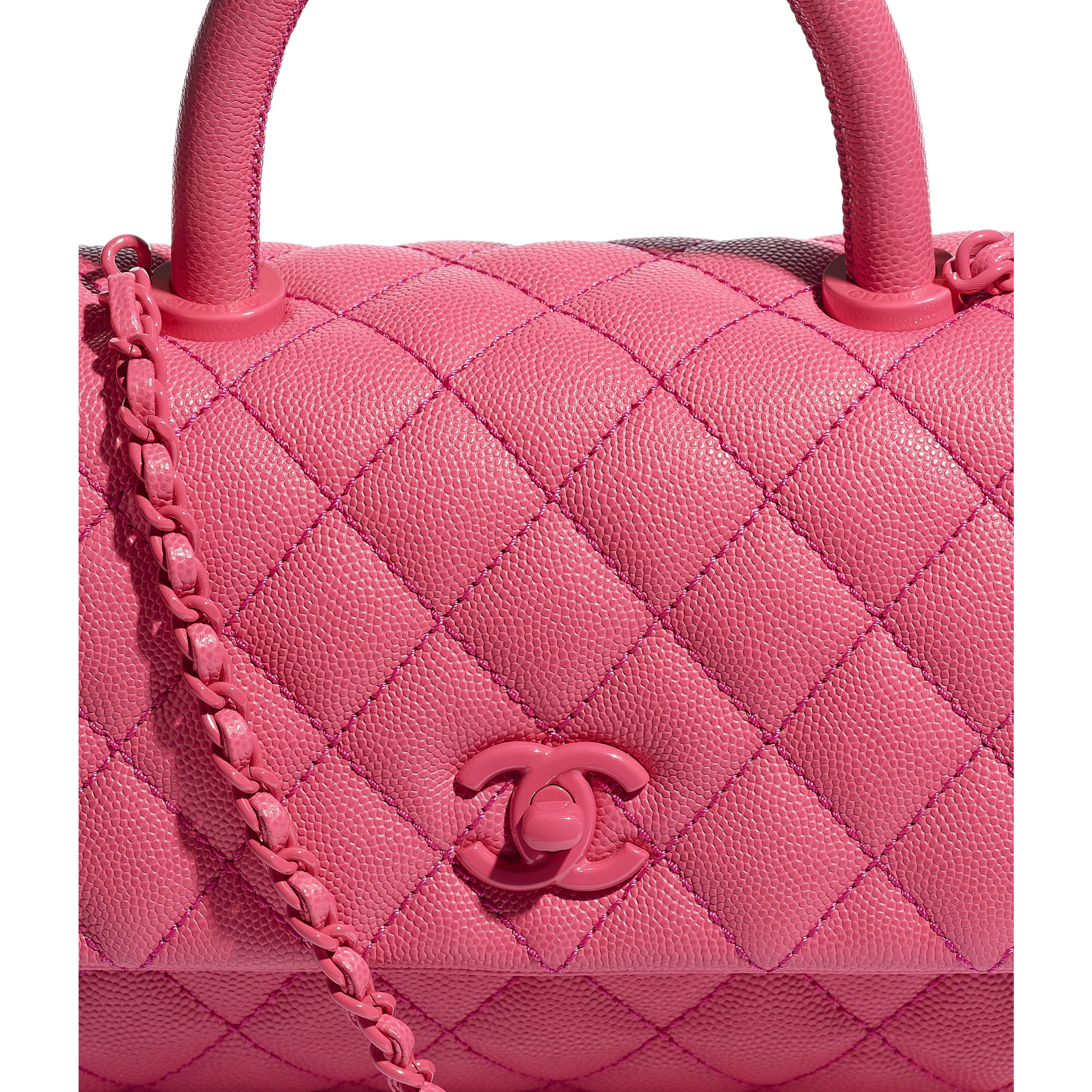 Flap Bag With Top Handle - Pink - Grained Calfskin & Lacquered Metal - CHANEL - Extra view - see standard sized version