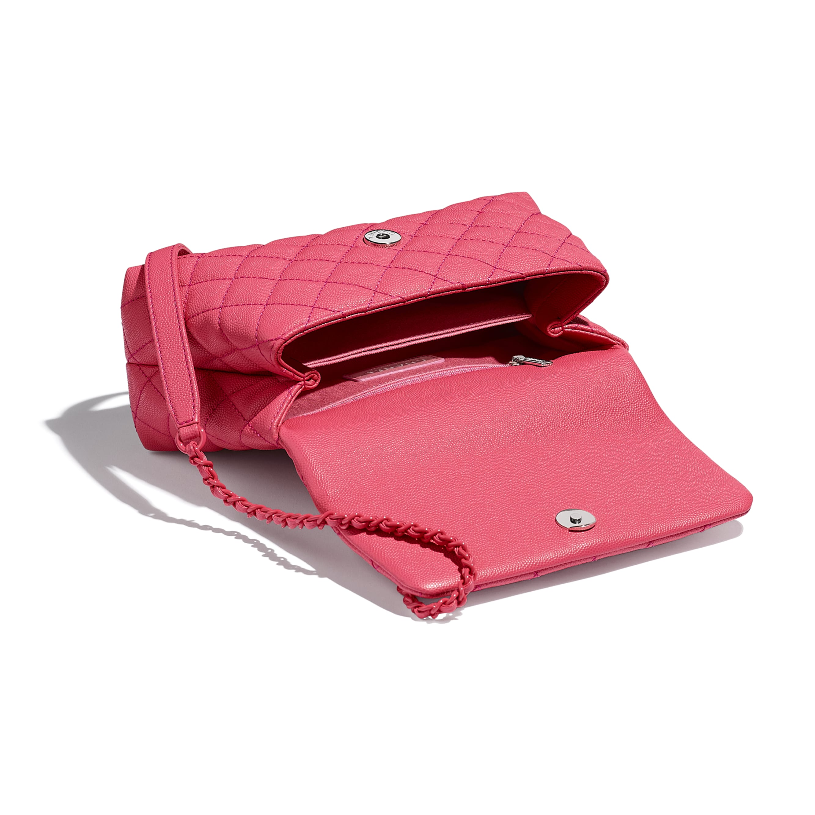 Flap Bag With Top Handle - Pink - Grained Calfskin & Lacquered Metal - CHANEL - Other view - see standard sized version