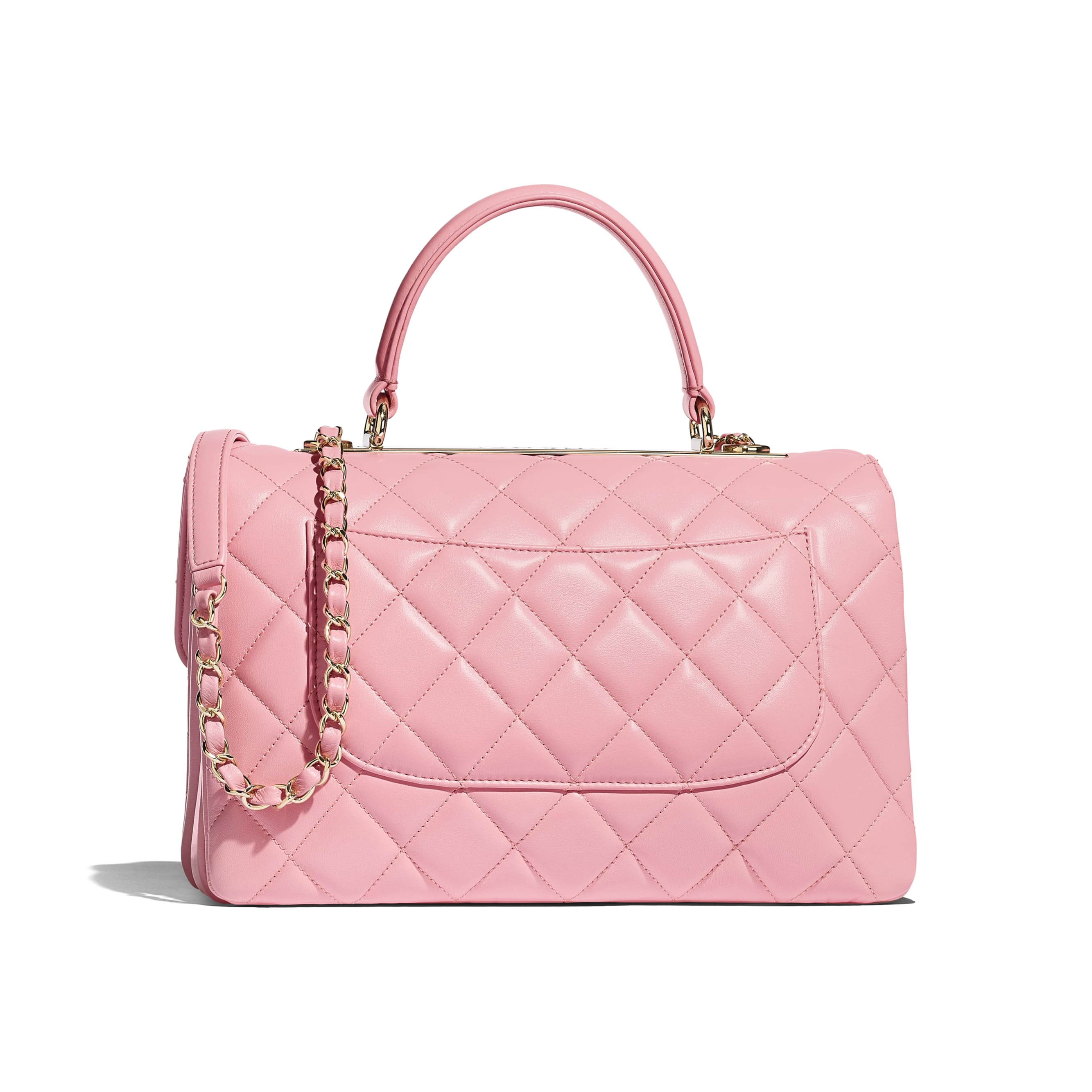 Flap Bag with Top Handle - Pink - Lambskin & Gold-Tone Metal - Alternative view - see standard sized version