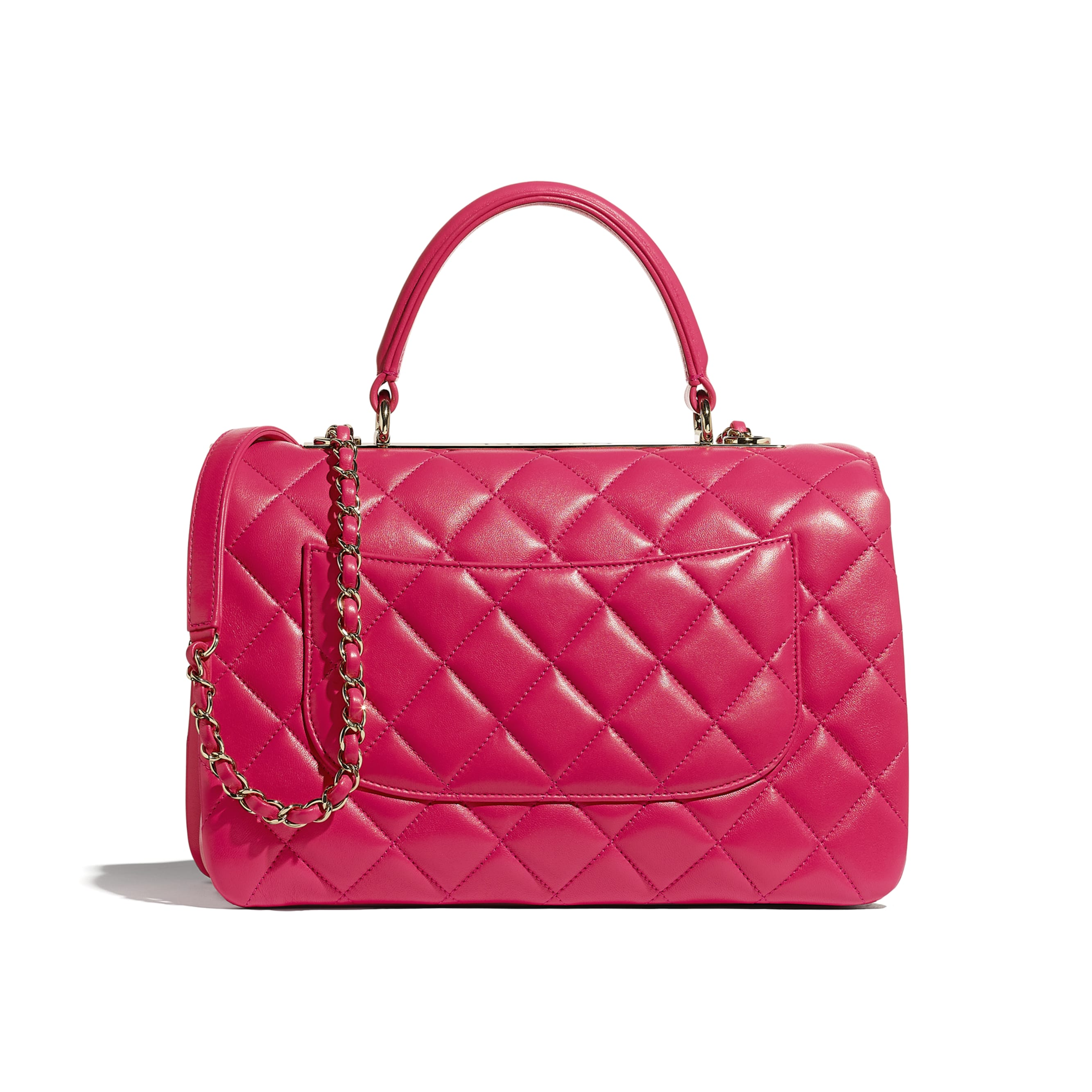 Flap Bag With Top Handle - Pink - Lambskin - CHANEL - Alternative view - see standard sized version
