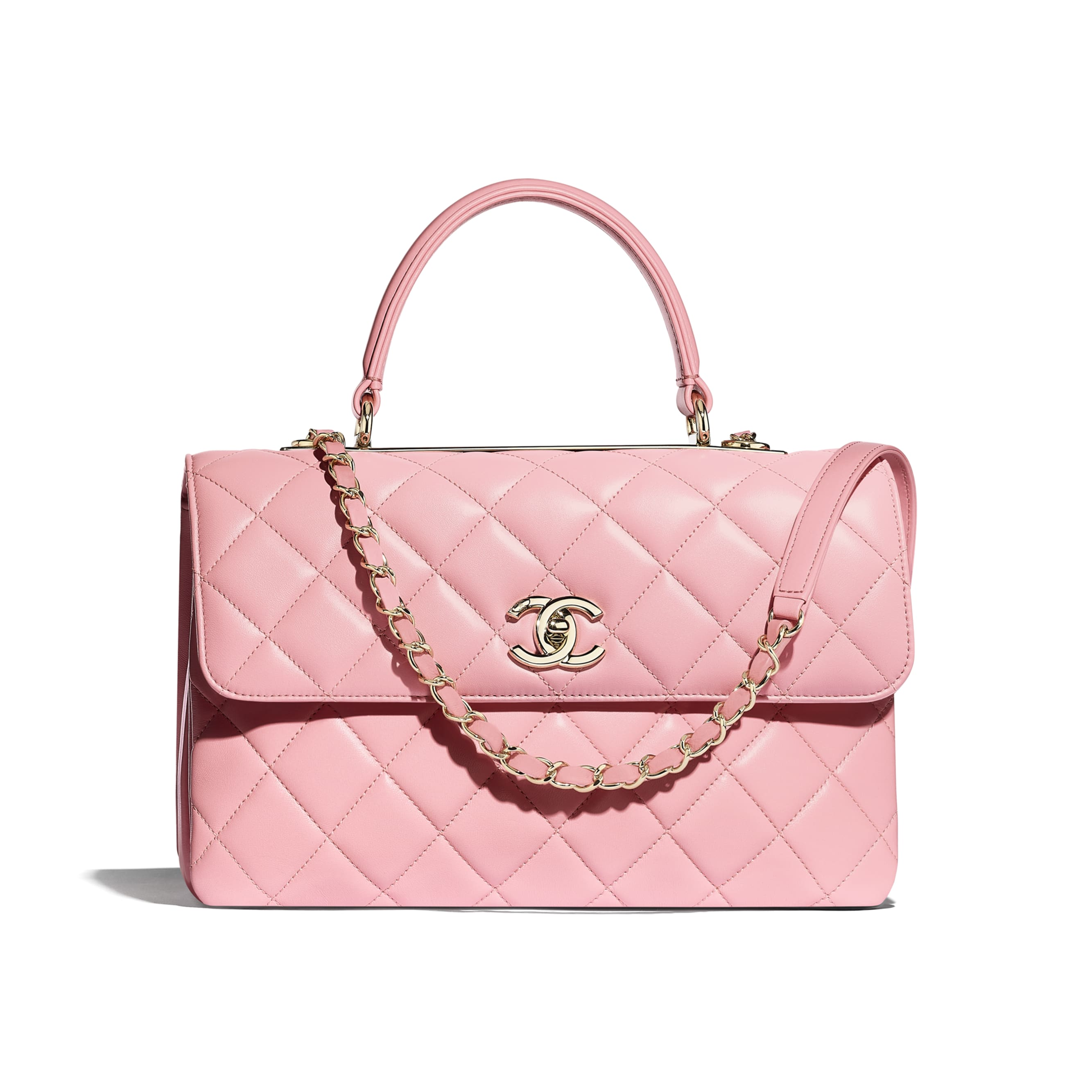 Flap Bag with Top Handle - Pink - Lambskin & Gold-Tone Metal - Default view - see standard sized version