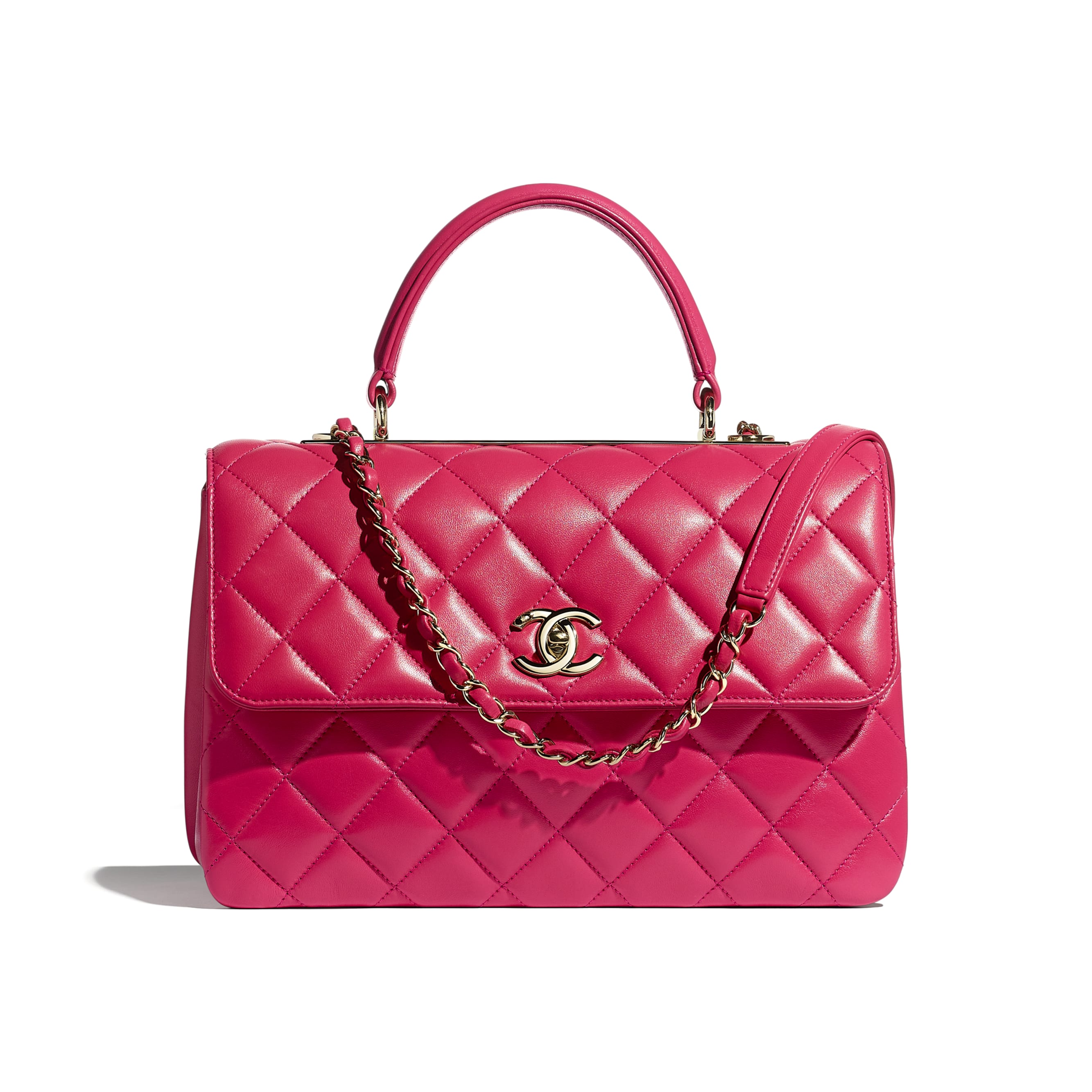 Flap Bag With Top Handle - Pink - Lambskin - CHANEL - Default view - see standard sized version