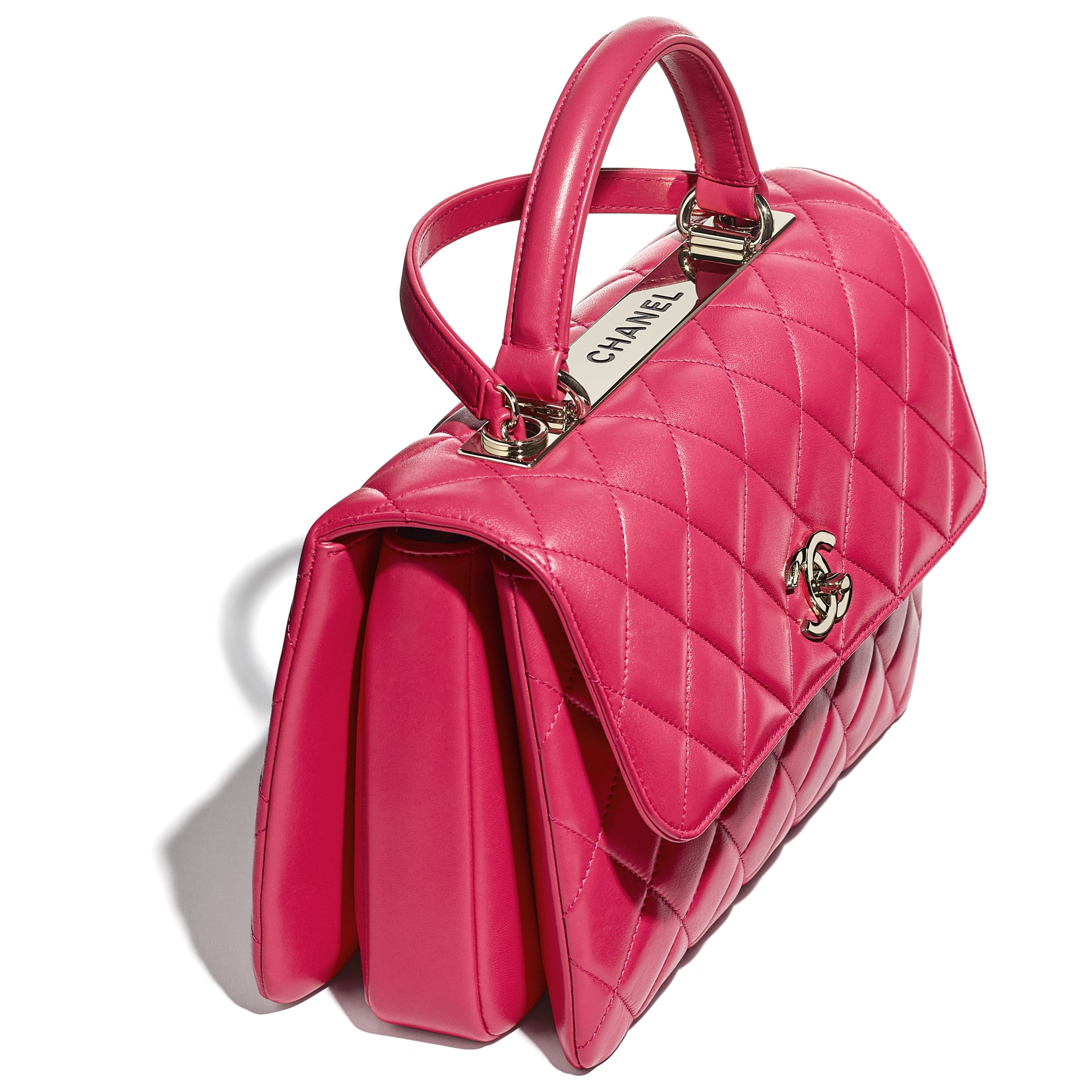 Flap Bag With Top Handle - Pink - Lambskin - CHANEL - Extra view - see standard sized version