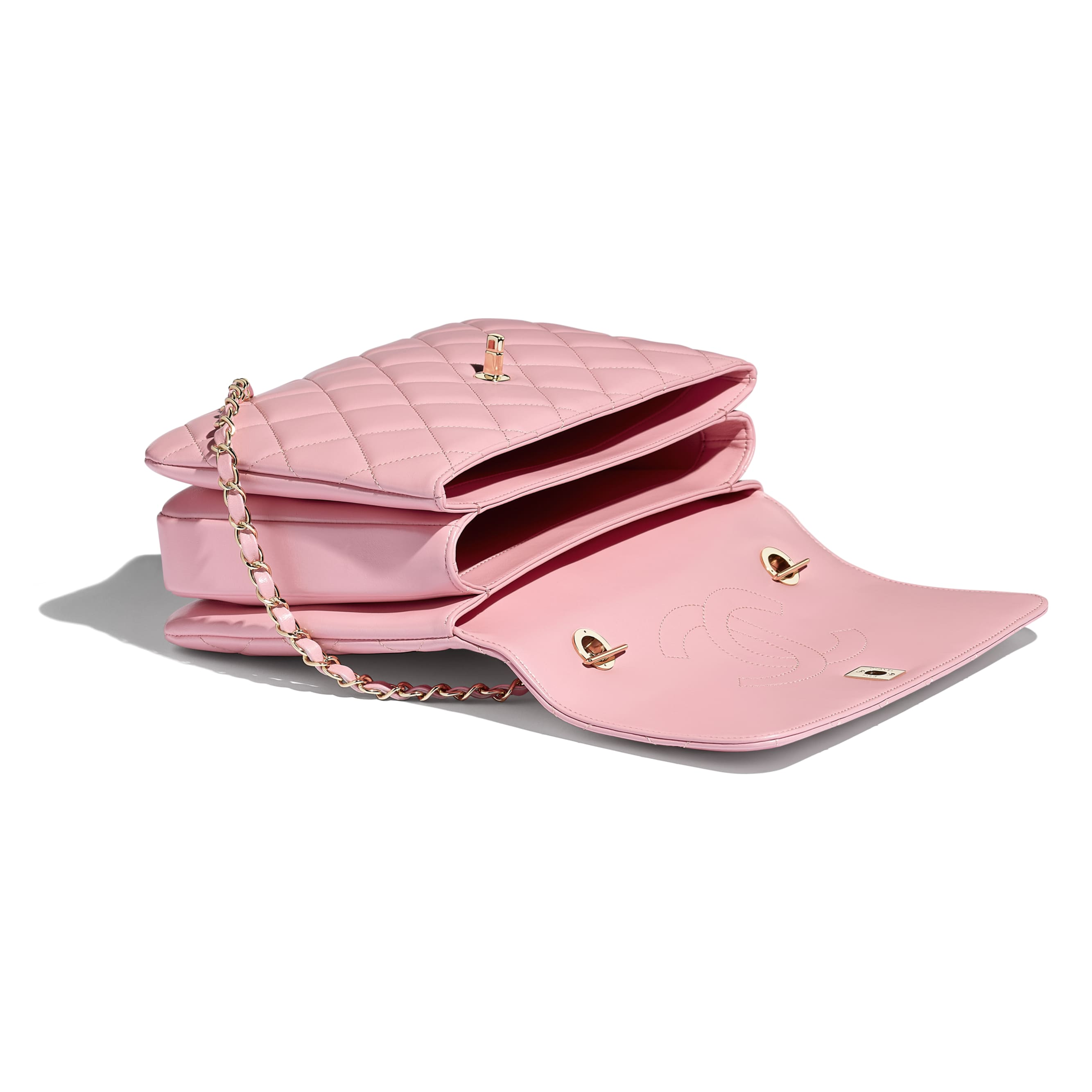 Flap Bag with Top Handle - Pink - Lambskin & Gold-Tone Metal - Other view - see standard sized version