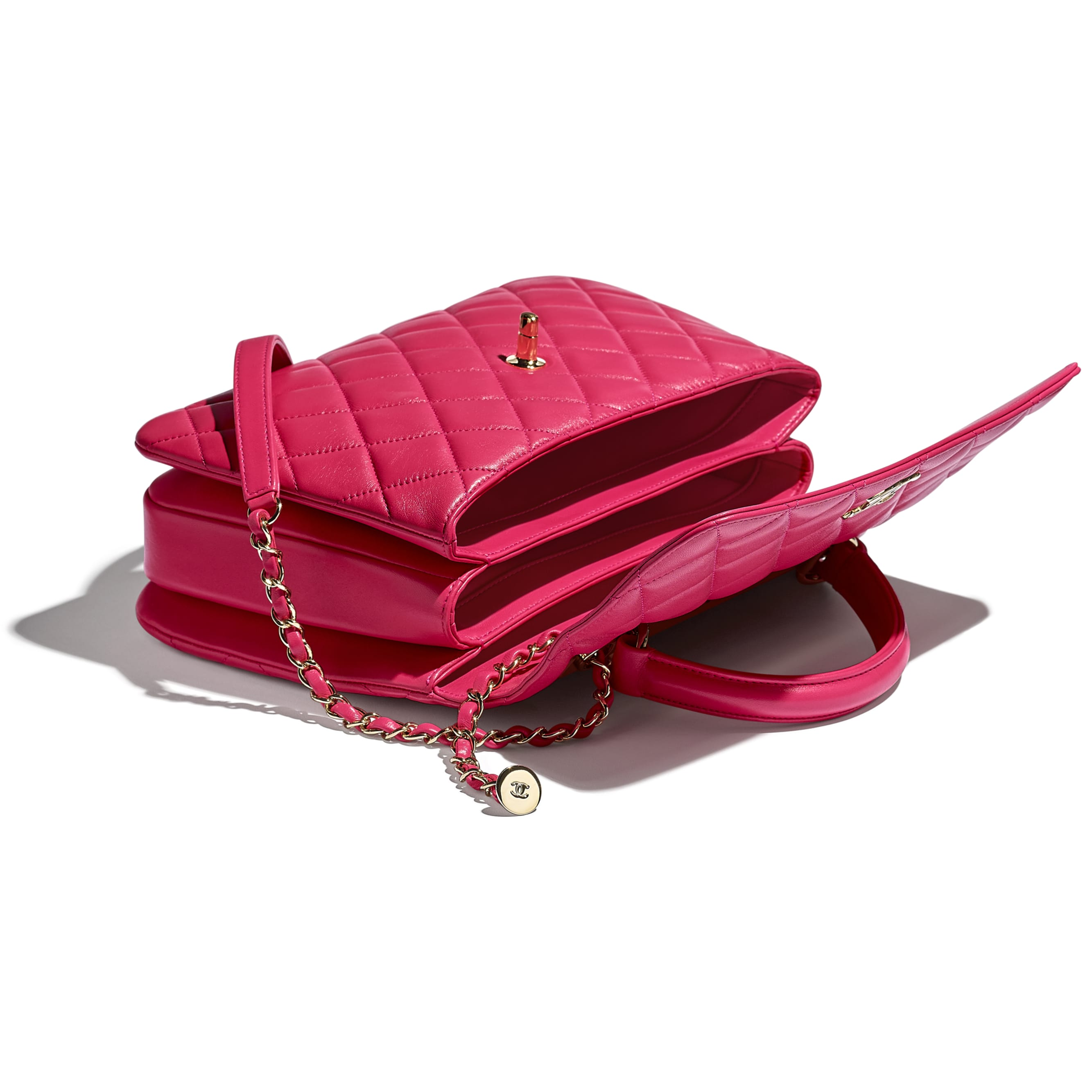 Flap Bag With Top Handle - Pink - Lambskin - CHANEL - Other view - see standard sized version