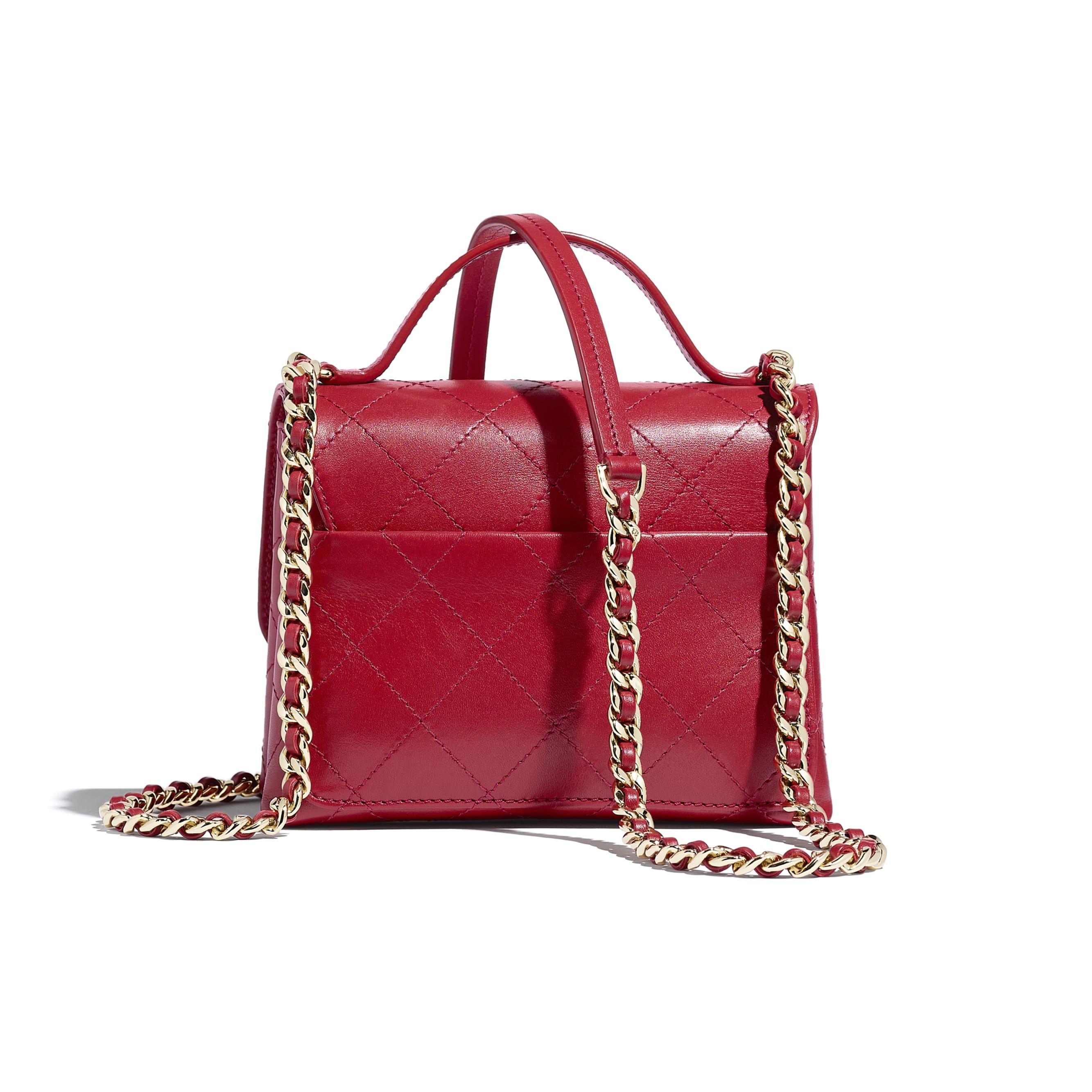 Сумка-конверт - Красный - Кожа теленка и золотистый металл - Альтернативный вид - посмотреть изображение стандартного размера