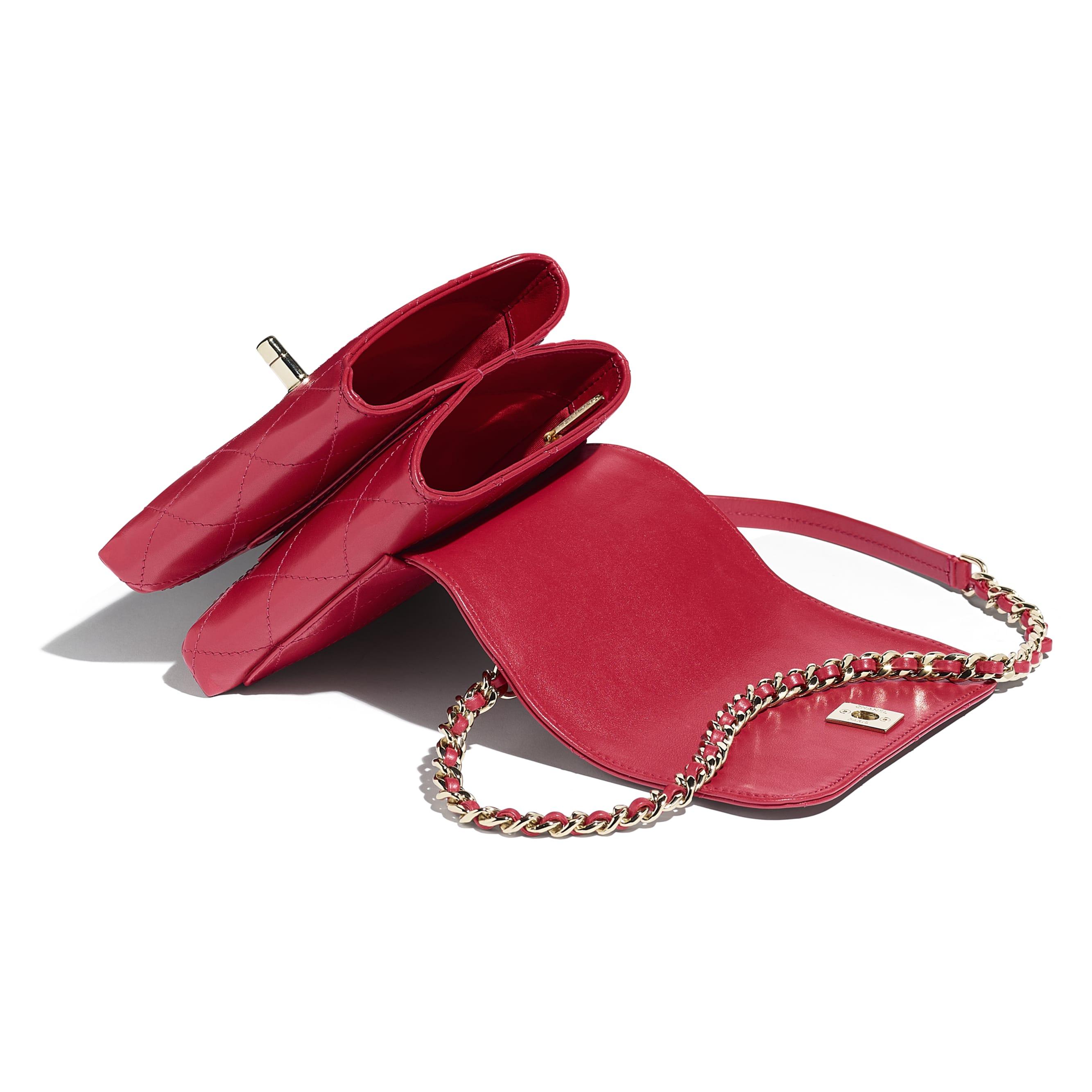 Сумка-конверт - Красный - Кожа теленка и золотистый металл - Другое изображение - посмотреть изображение стандартного размера