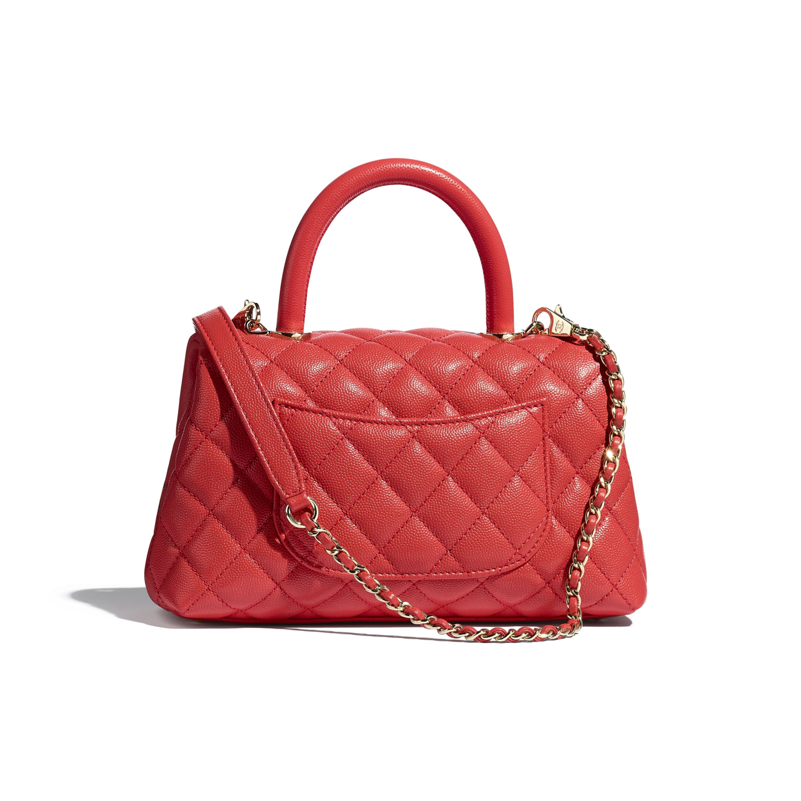 Flap Bag With Top Handle - Red - Grained Calfskin & Gold-Tone Metal - CHANEL - Alternative view - see standard sized version