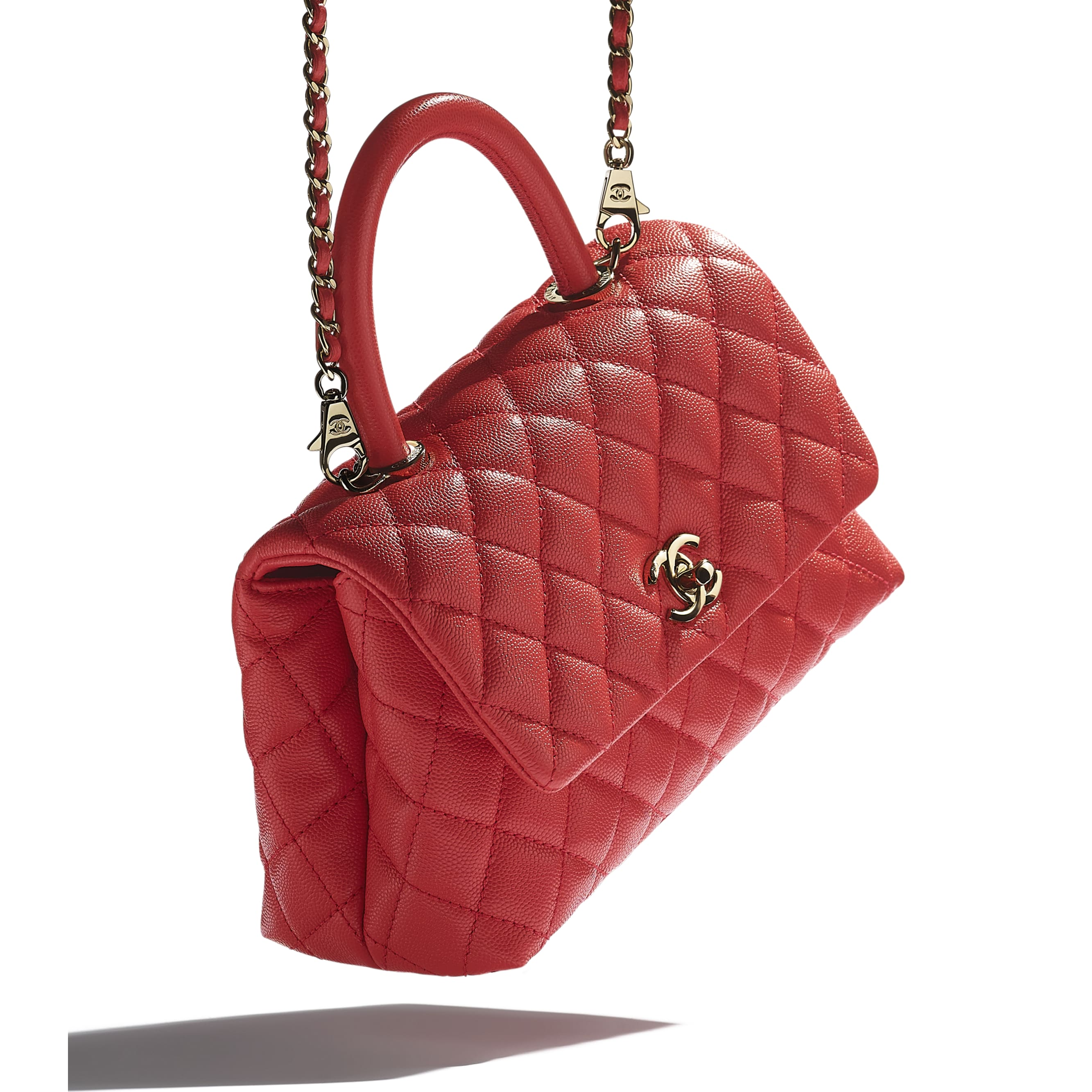 Flap Bag With Top Handle - Red - Grained Calfskin & Gold-Tone Metal - CHANEL - Extra view - see standard sized version