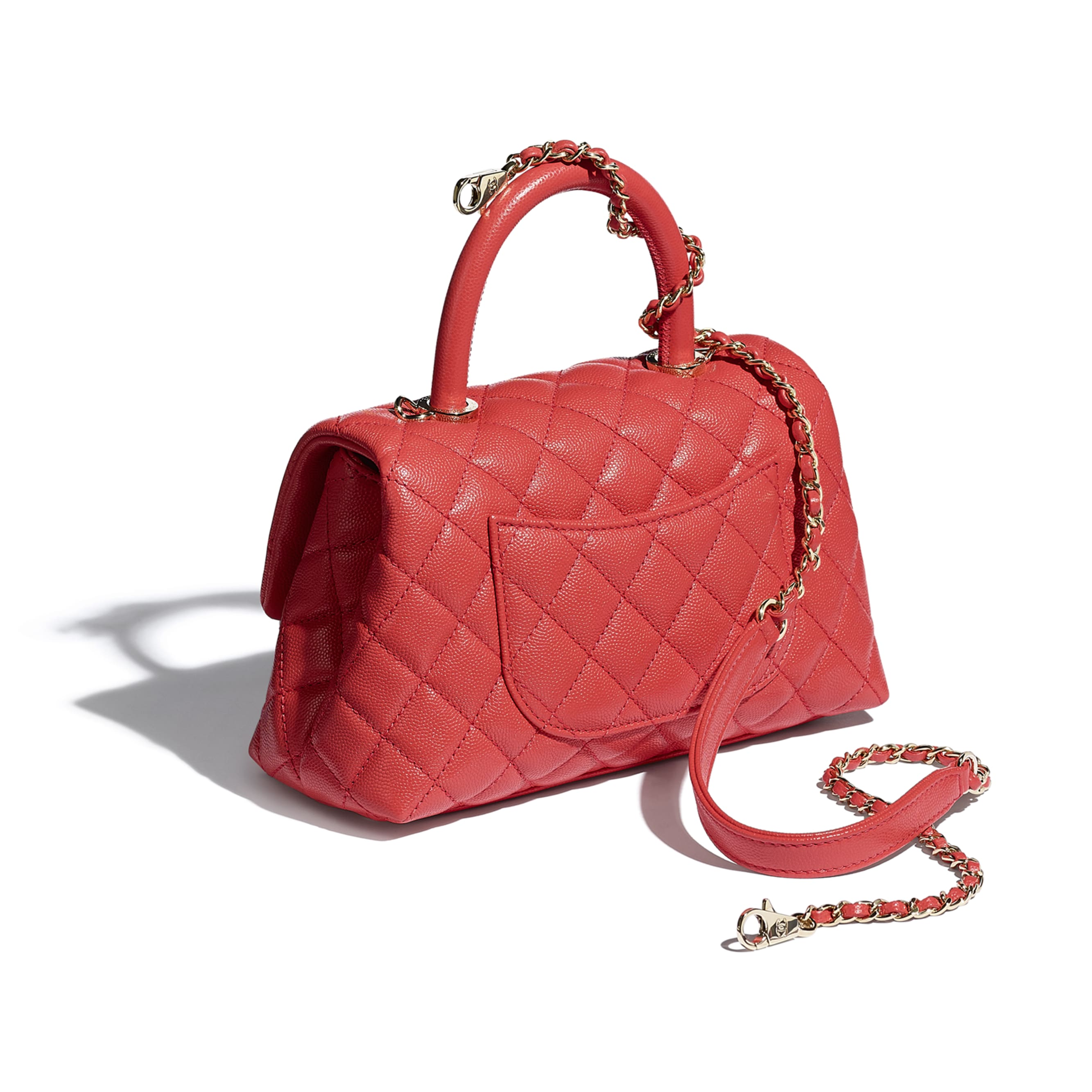 Flap Bag With Top Handle - Red - Grained Calfskin & Gold-Tone Metal - CHANEL - Other view - see standard sized version