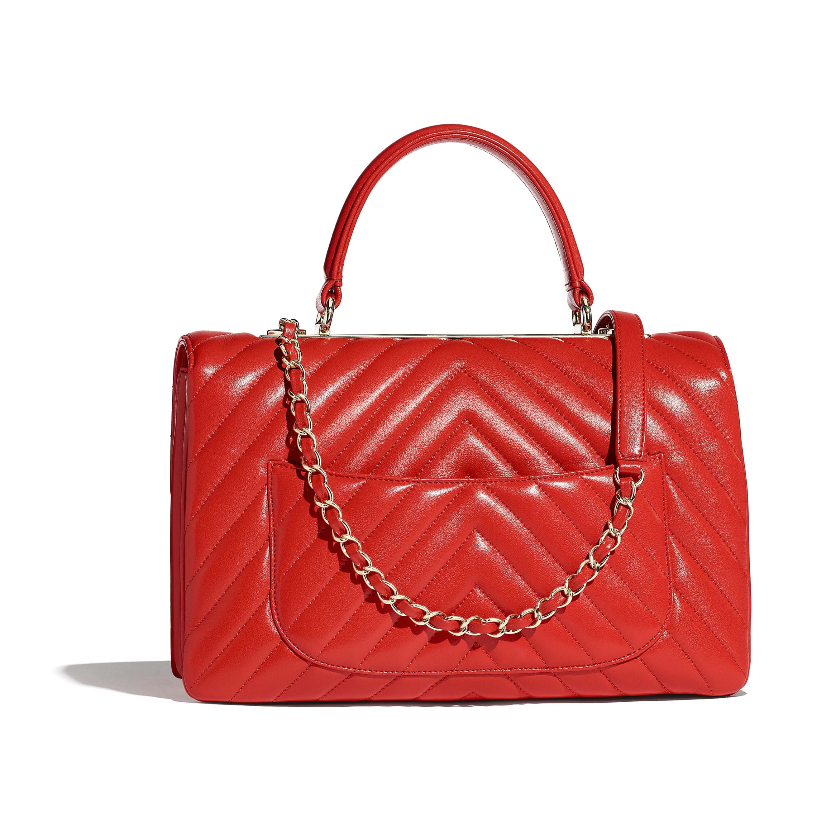 ... Flap Bag with Top Handle - Red - Lambskin   Gold-Tone Metal -  Alternative e1289b09f296c