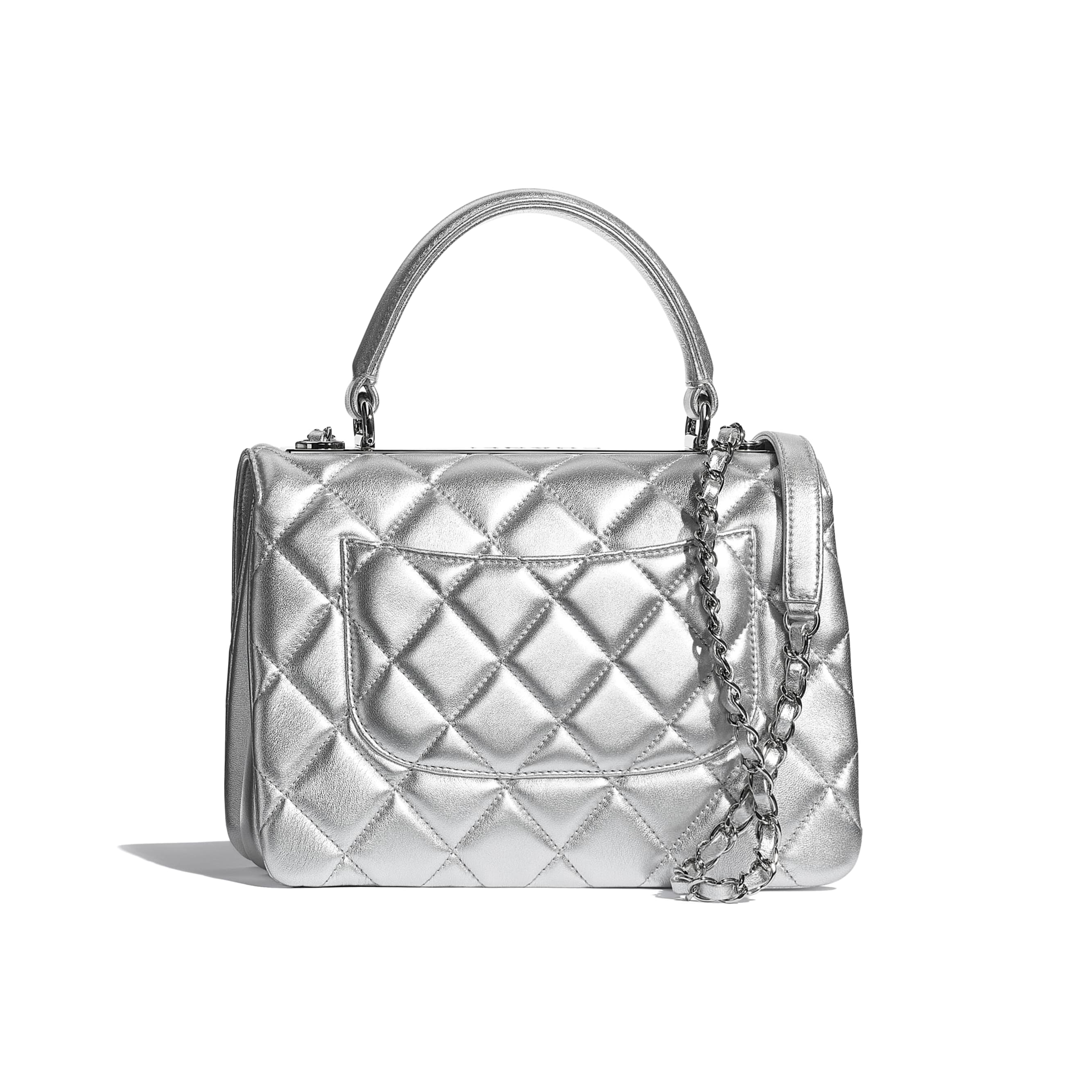 Flap Bag With Top Handle - Silver - Metallic Lambskin & Silver Metal - CHANEL - Alternative view - see standard sized version